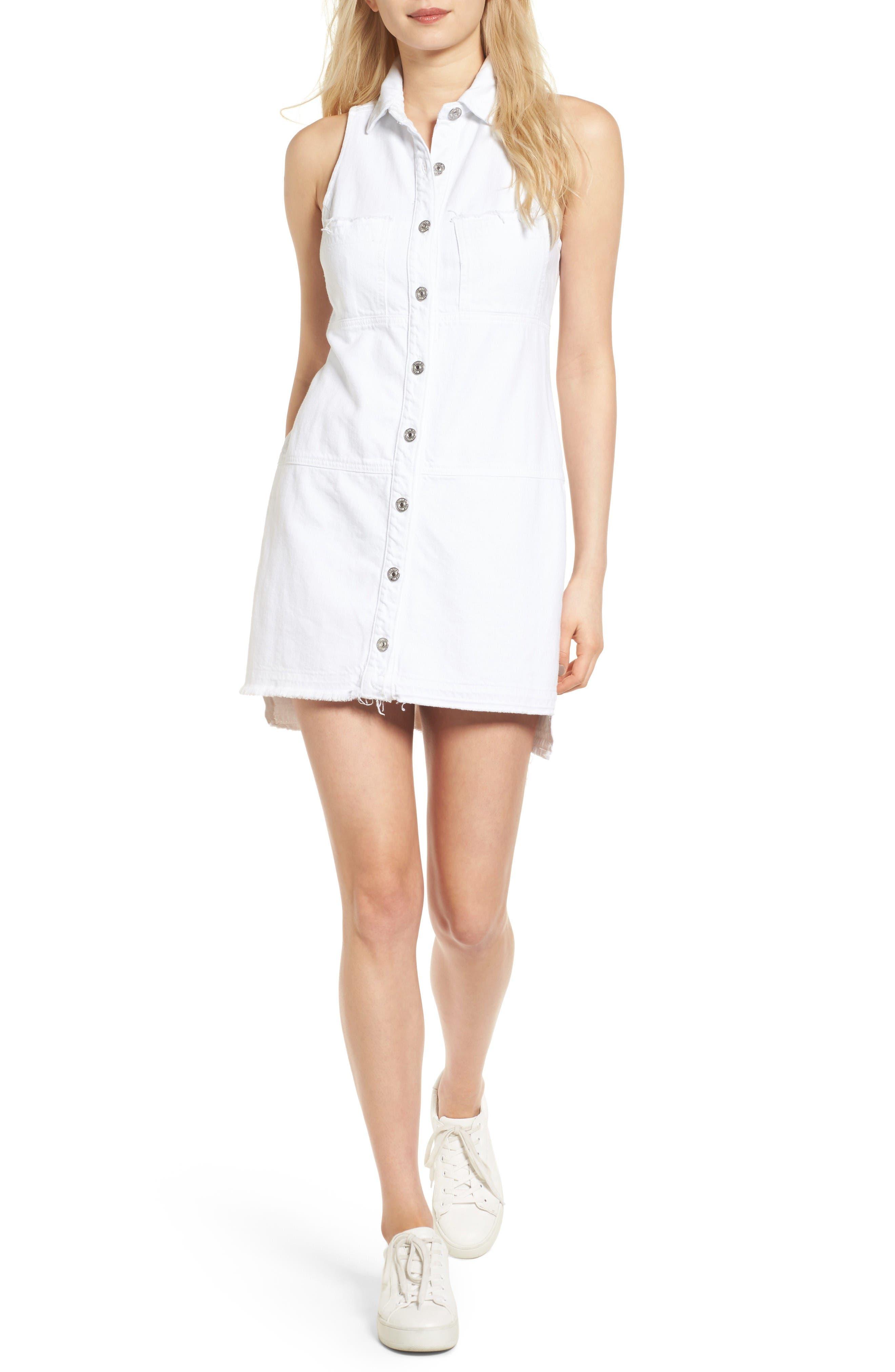 Released Hem Denim Shirtdress,                             Main thumbnail 1, color,                             Luxe Lounge White