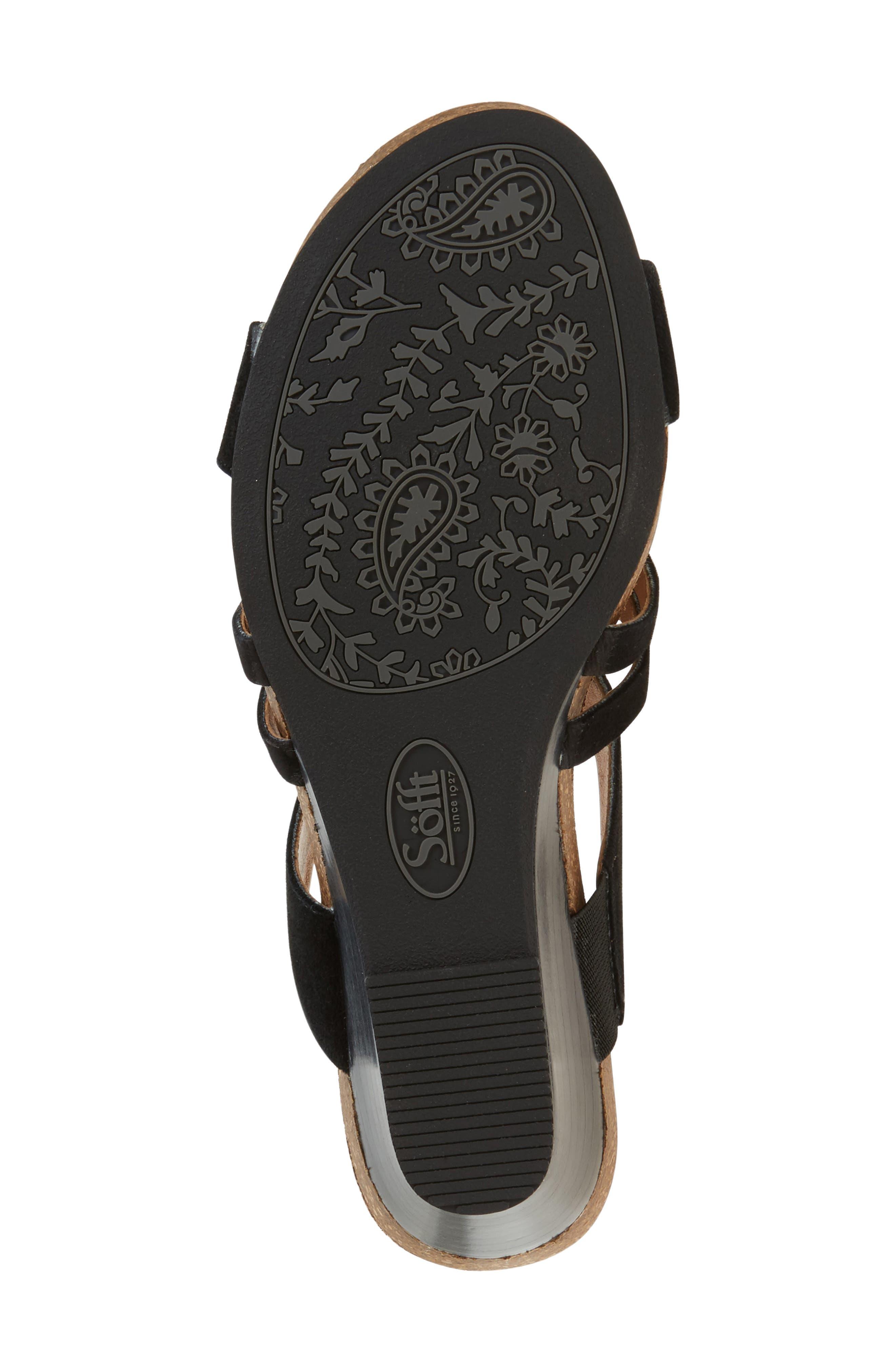 Vassy Wedge Sandal,                             Alternate thumbnail 4, color,                             Black Suede