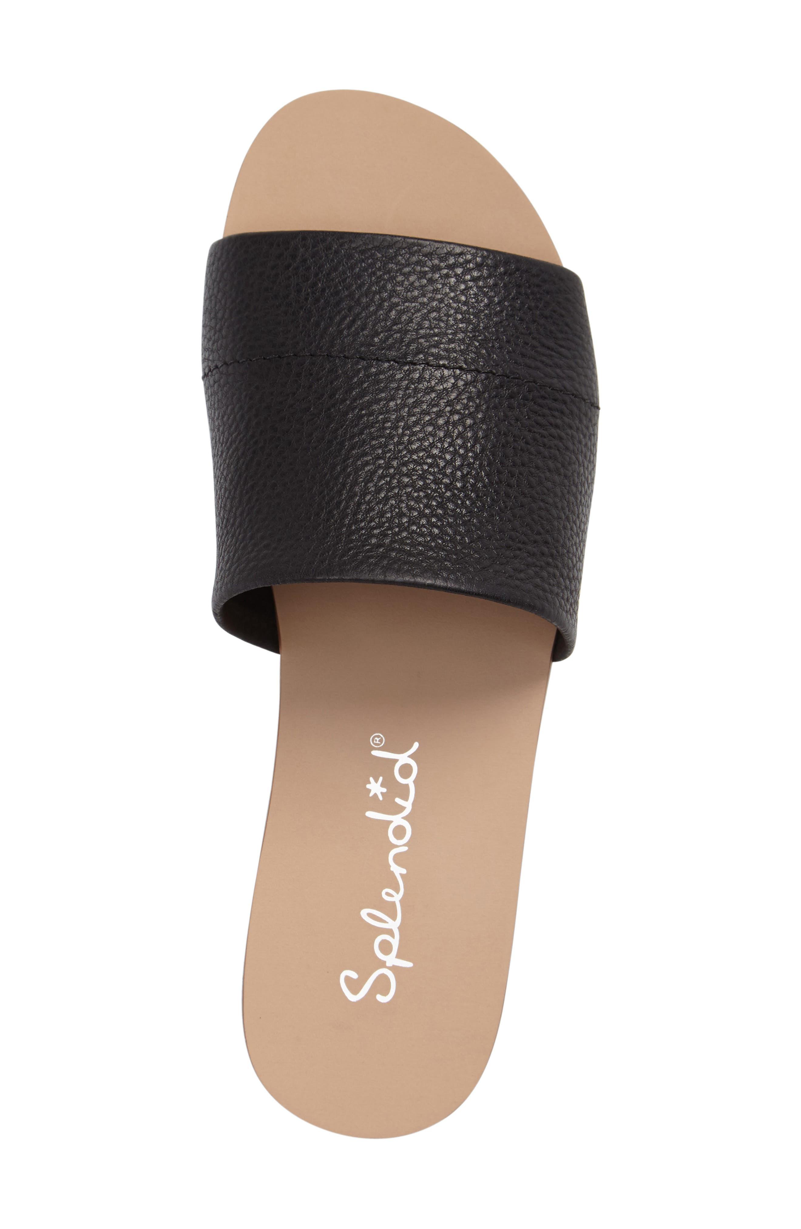 Jazz Slide Sandal,                             Alternate thumbnail 3, color,                             Black Leather
