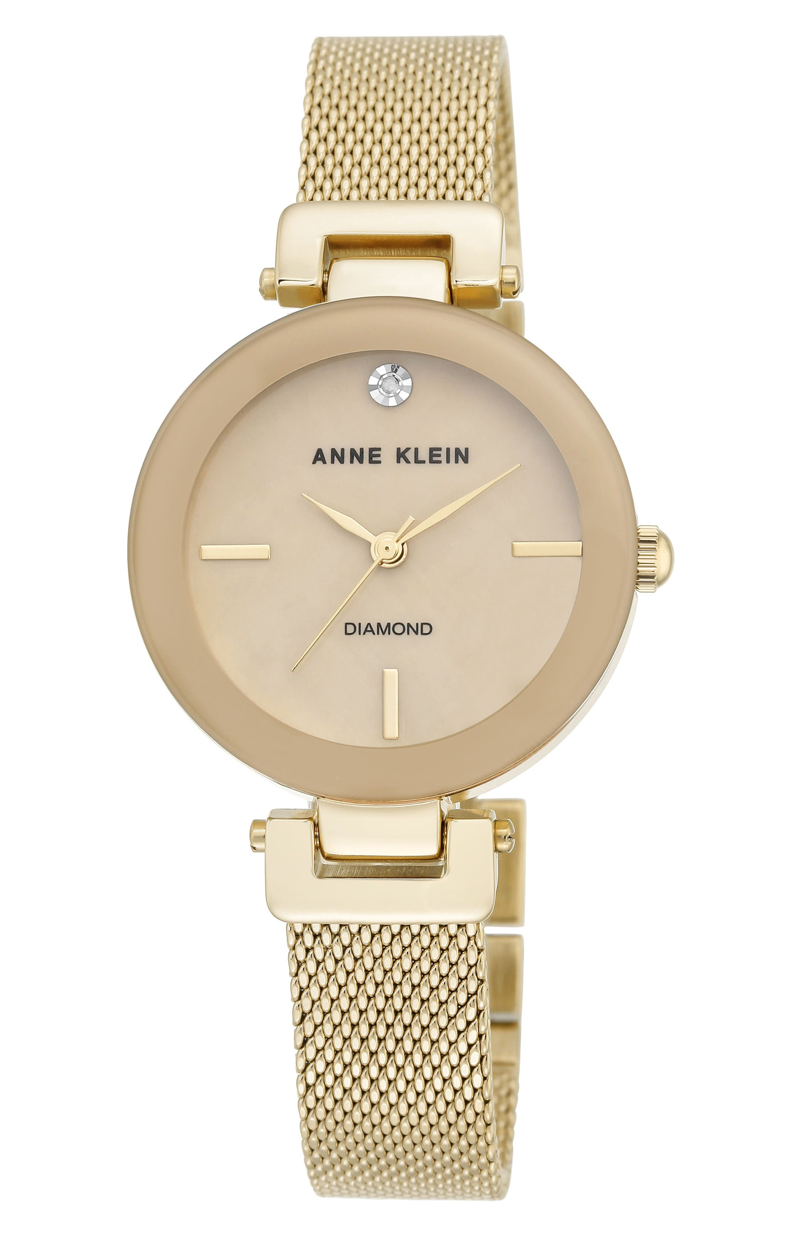 Mesh Strap Watch, 30mm,                         Main,                         color, Gold