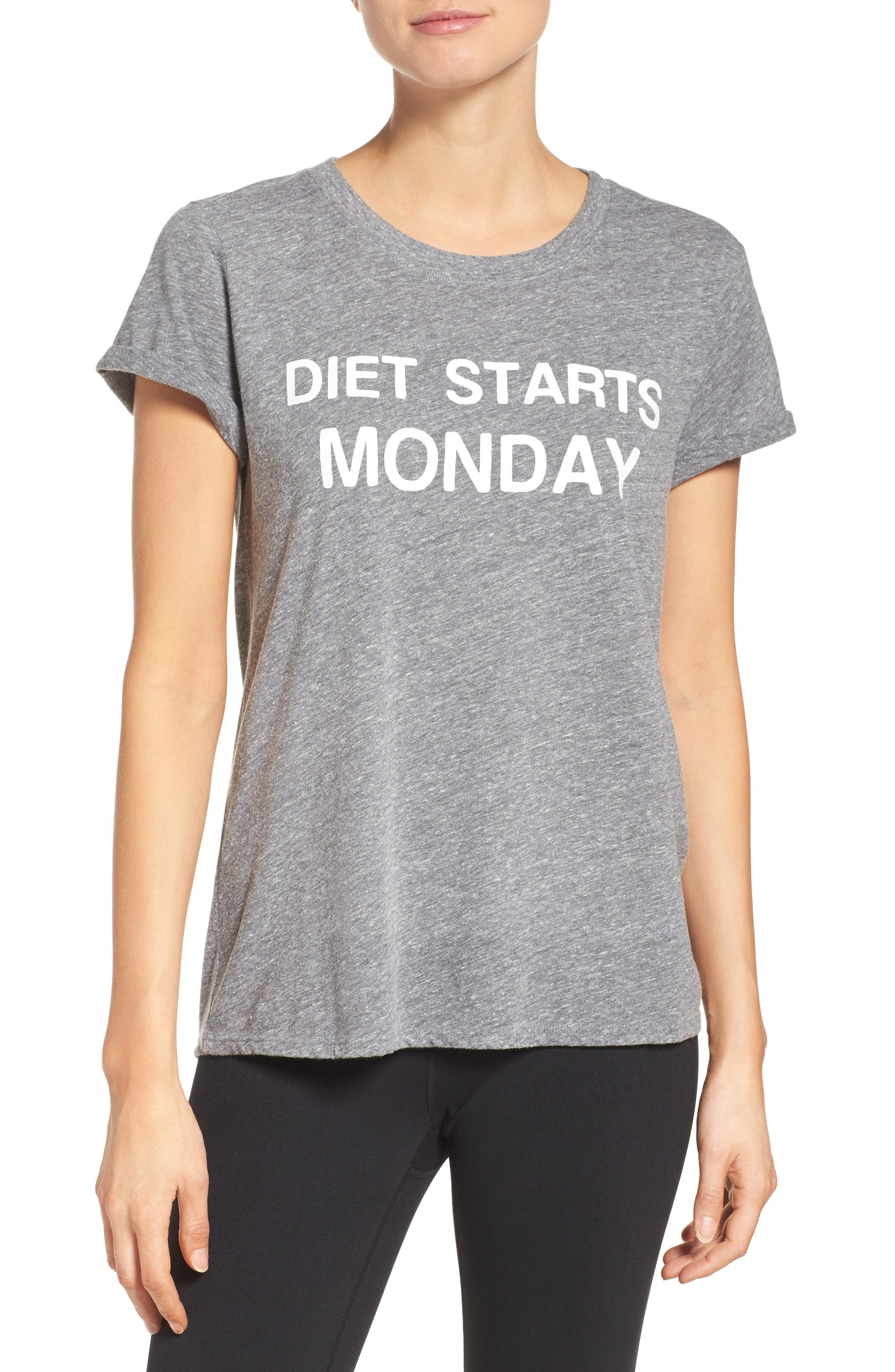 Diet Starts Monday Tee,                             Main thumbnail 1, color,                             Grey