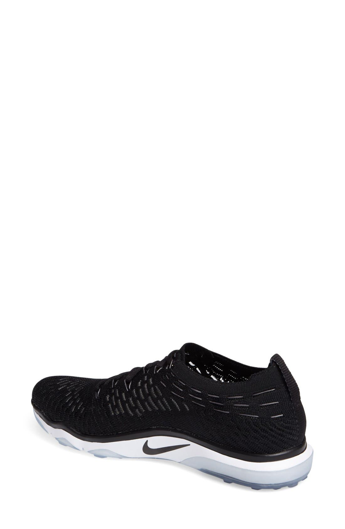 Air Zoom Fearless Flyknit Training Shoe,                             Alternate thumbnail 2, color,                             Black/ White