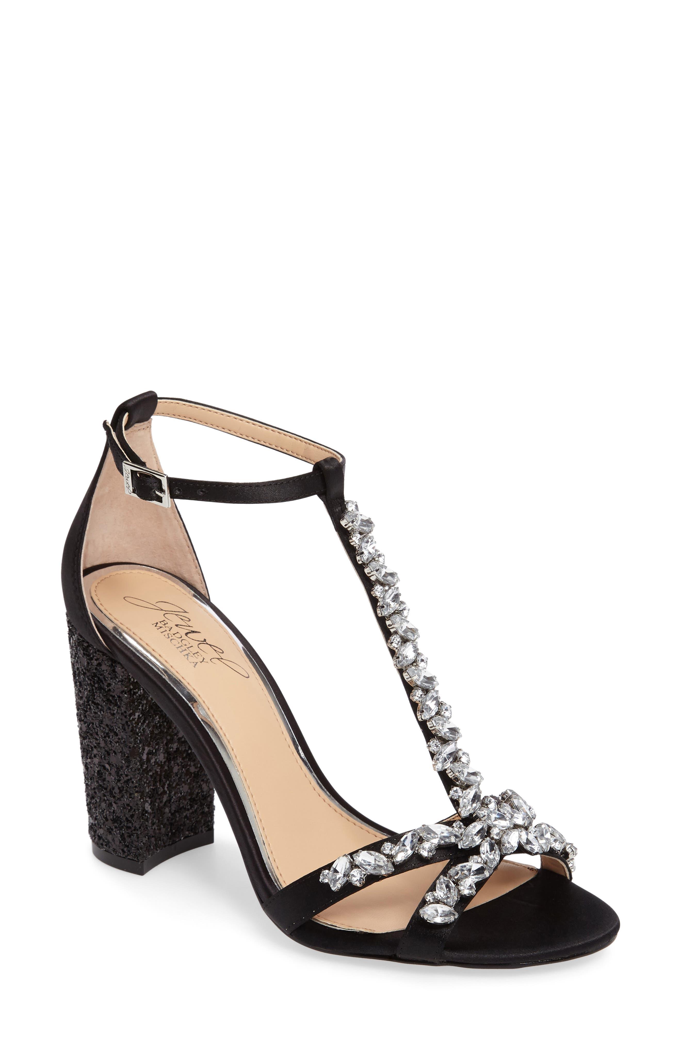 Carver Block Heel Sandal,                             Main thumbnail 1, color,                             Black Satin