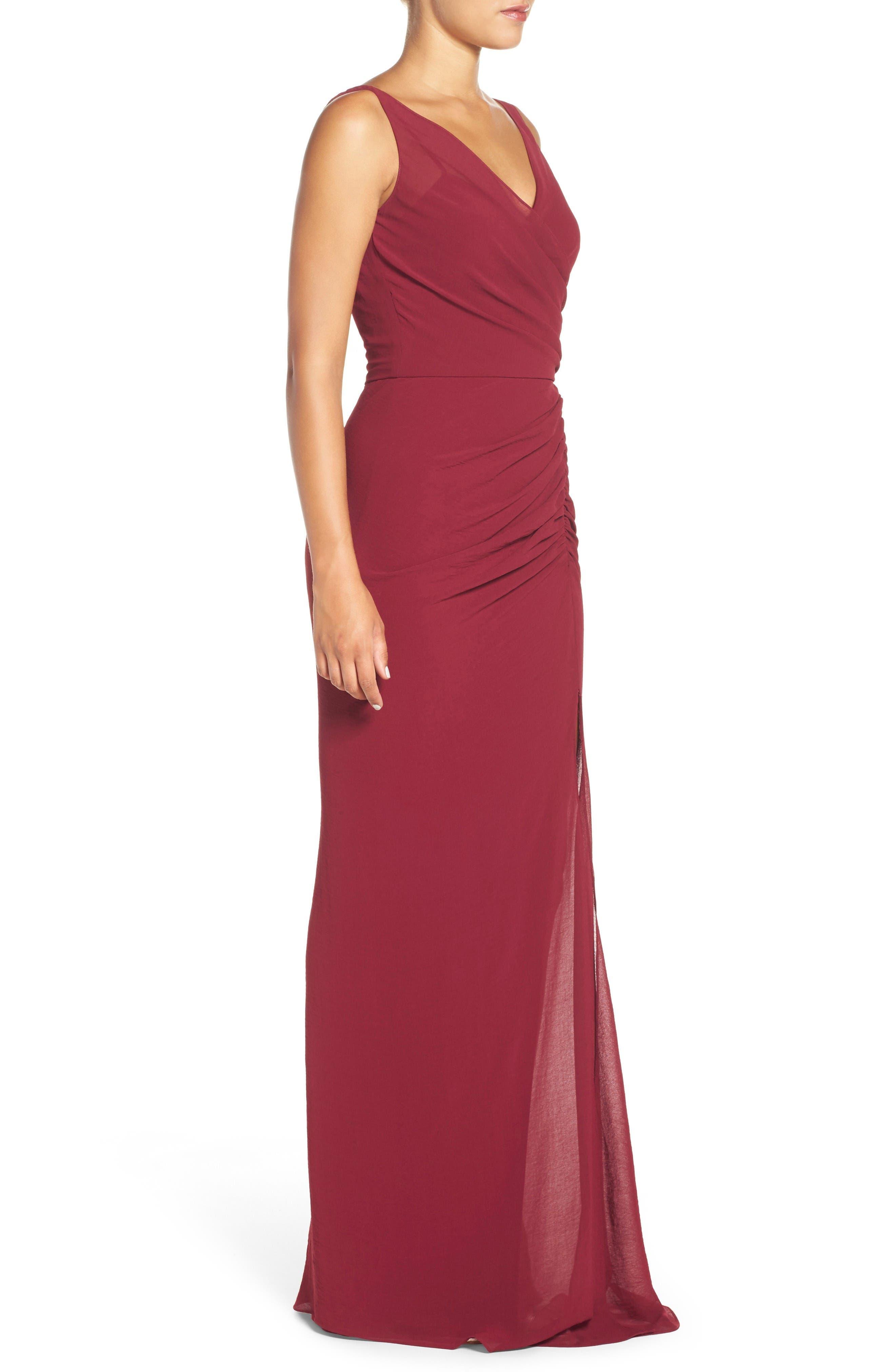 Wrap Front Chiffon Gown,                             Alternate thumbnail 5, color,                             Bordeaux