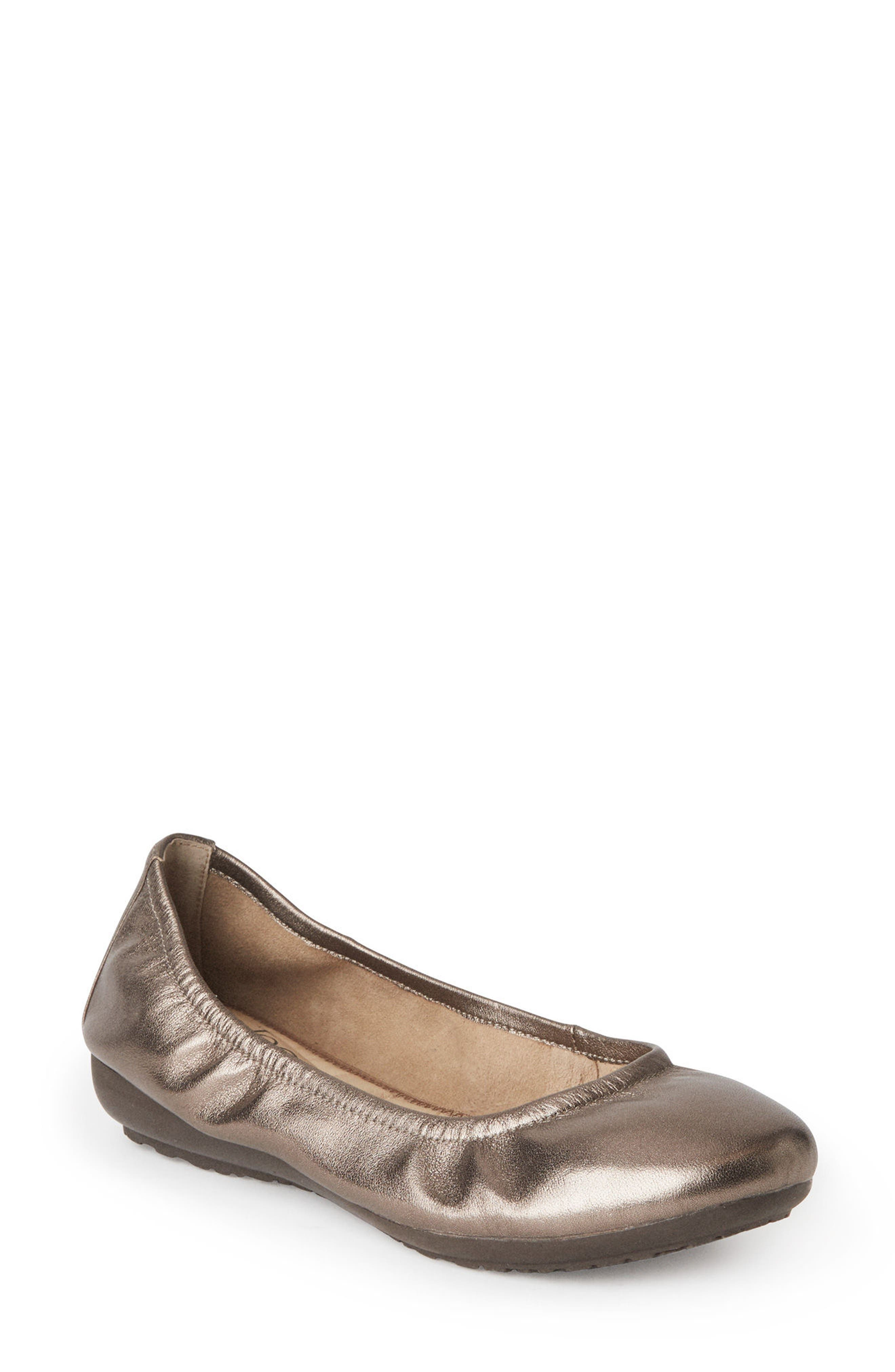 Janell Sliver Wedge Flat,                             Main thumbnail 1, color,                             Mink Metallic Leather
