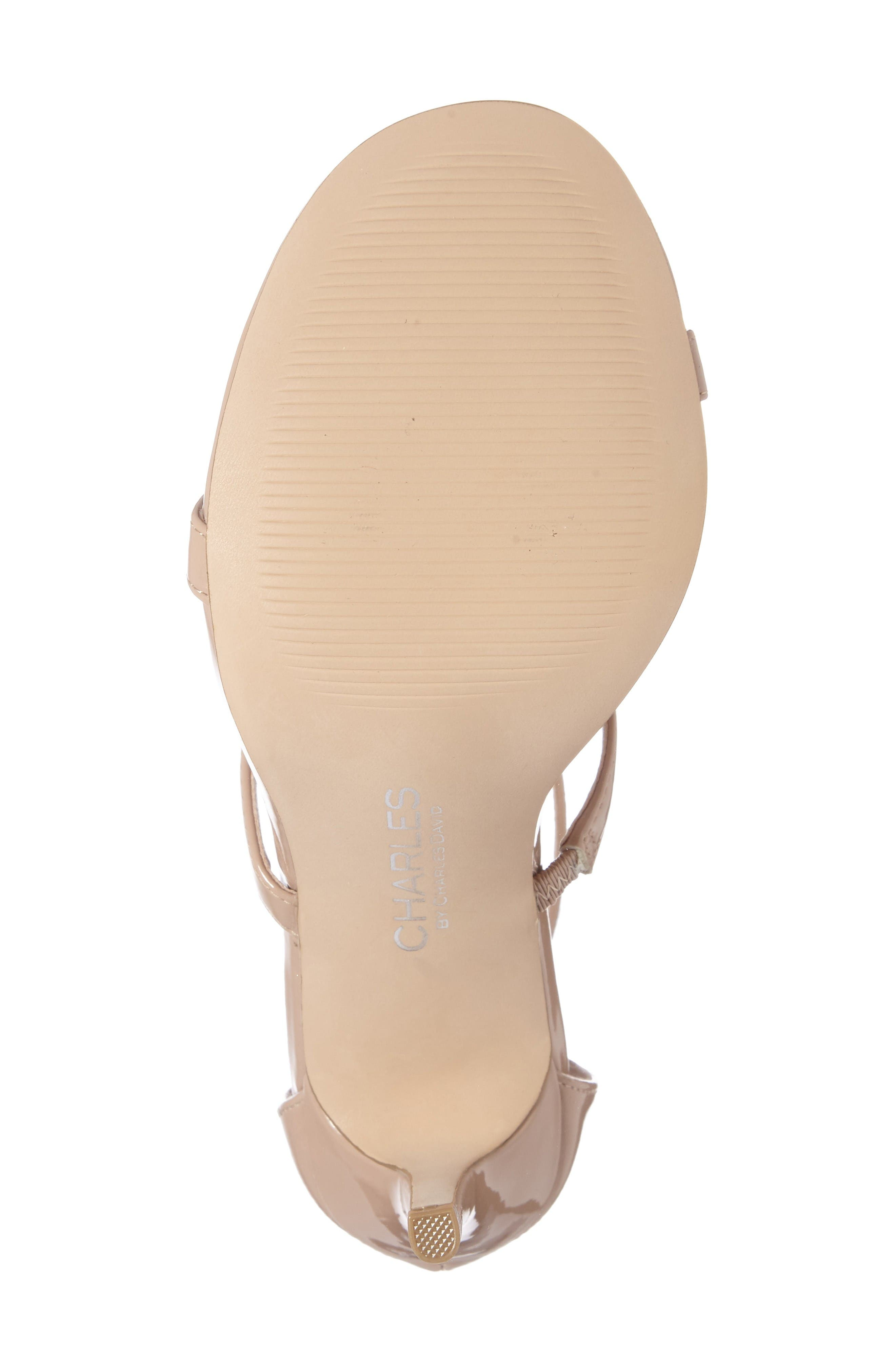 Ria Strappy Sandal,                             Alternate thumbnail 4, color,                             Nude Patent Leather