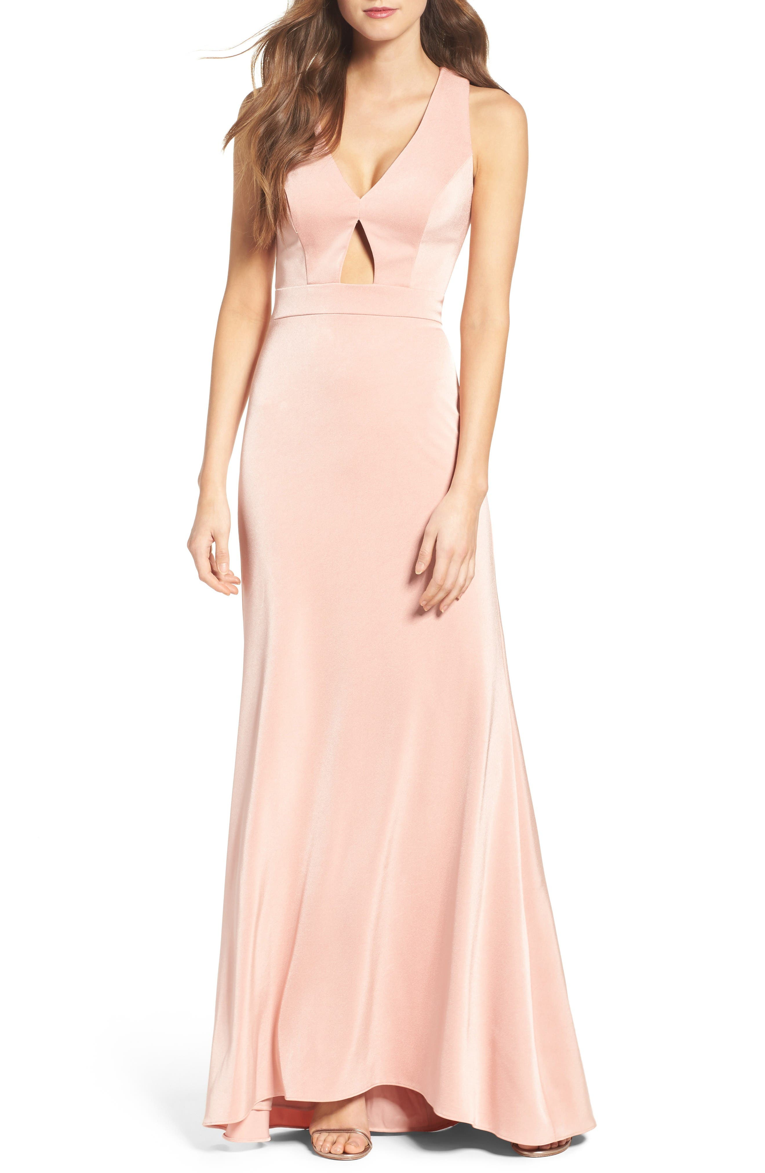 Cross Back Gown,                         Main,                         color, Blush