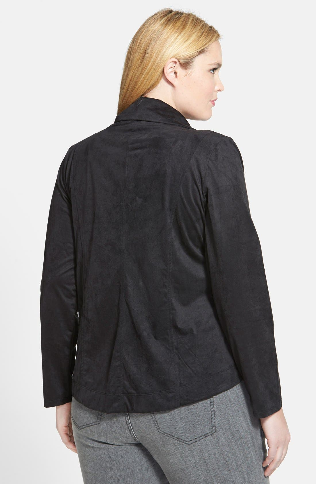Alternate Image 2  - Jessica Simpson 'Altmar' Faux Suede Asymmetrical Zip Jacket (Plus Size)