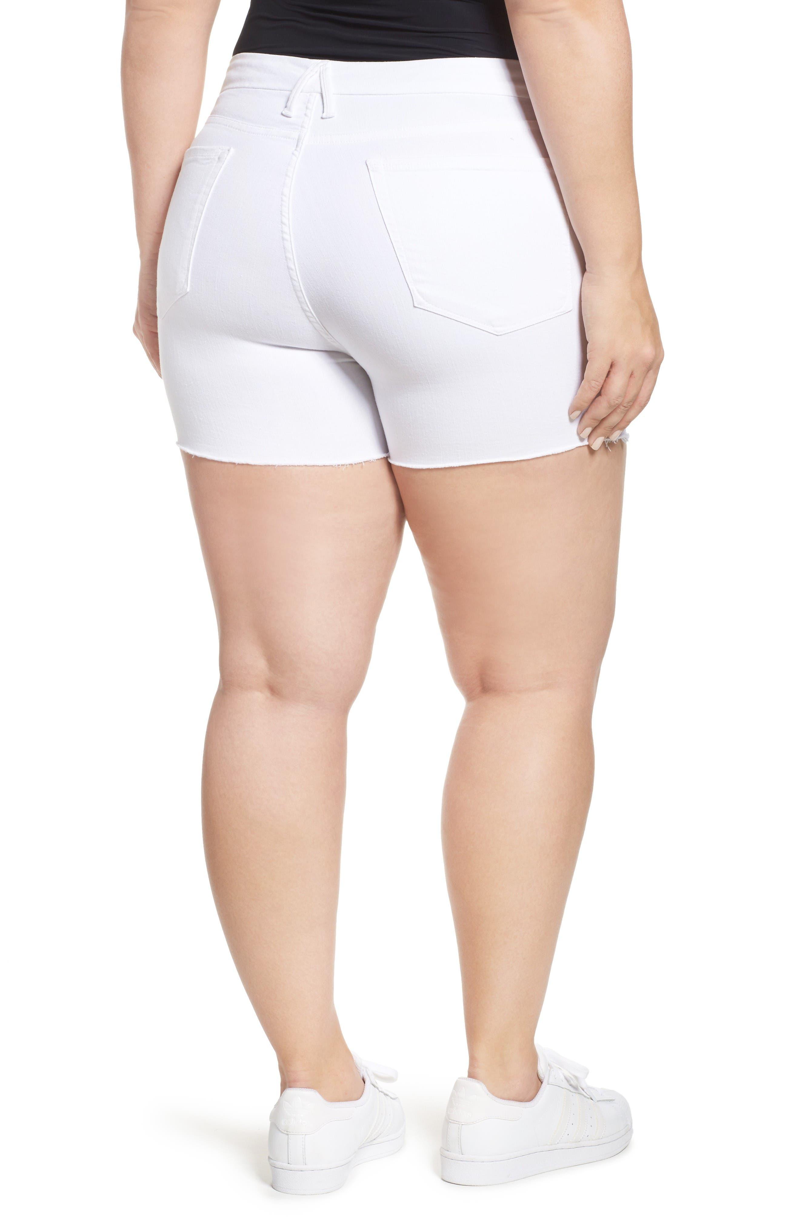 Destroyed Cutoff Denim Shorts,                             Alternate thumbnail 8, color,                             White 004