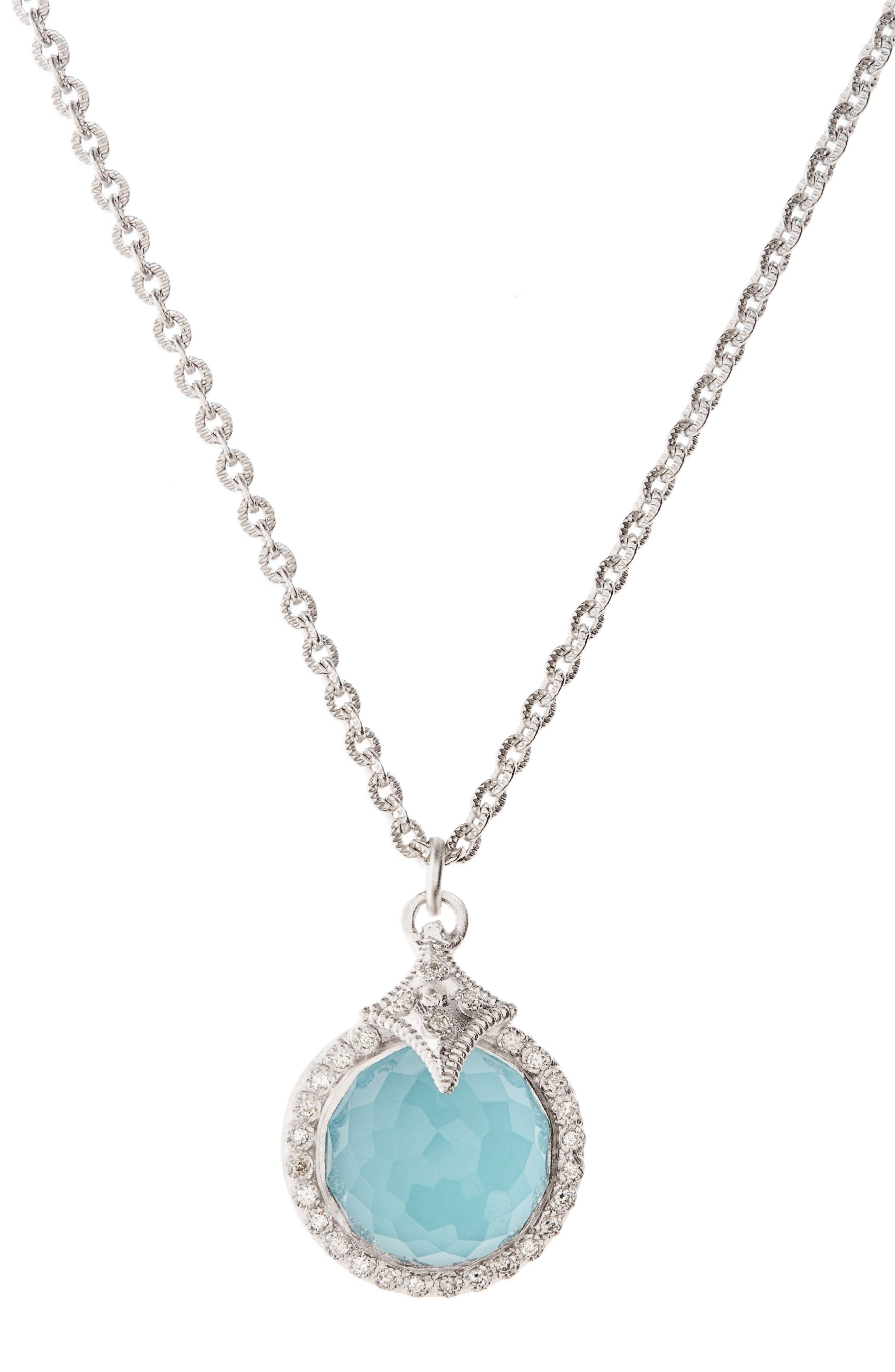 New World Turquoise Pendant Necklace,                         Main,                         color, Silver