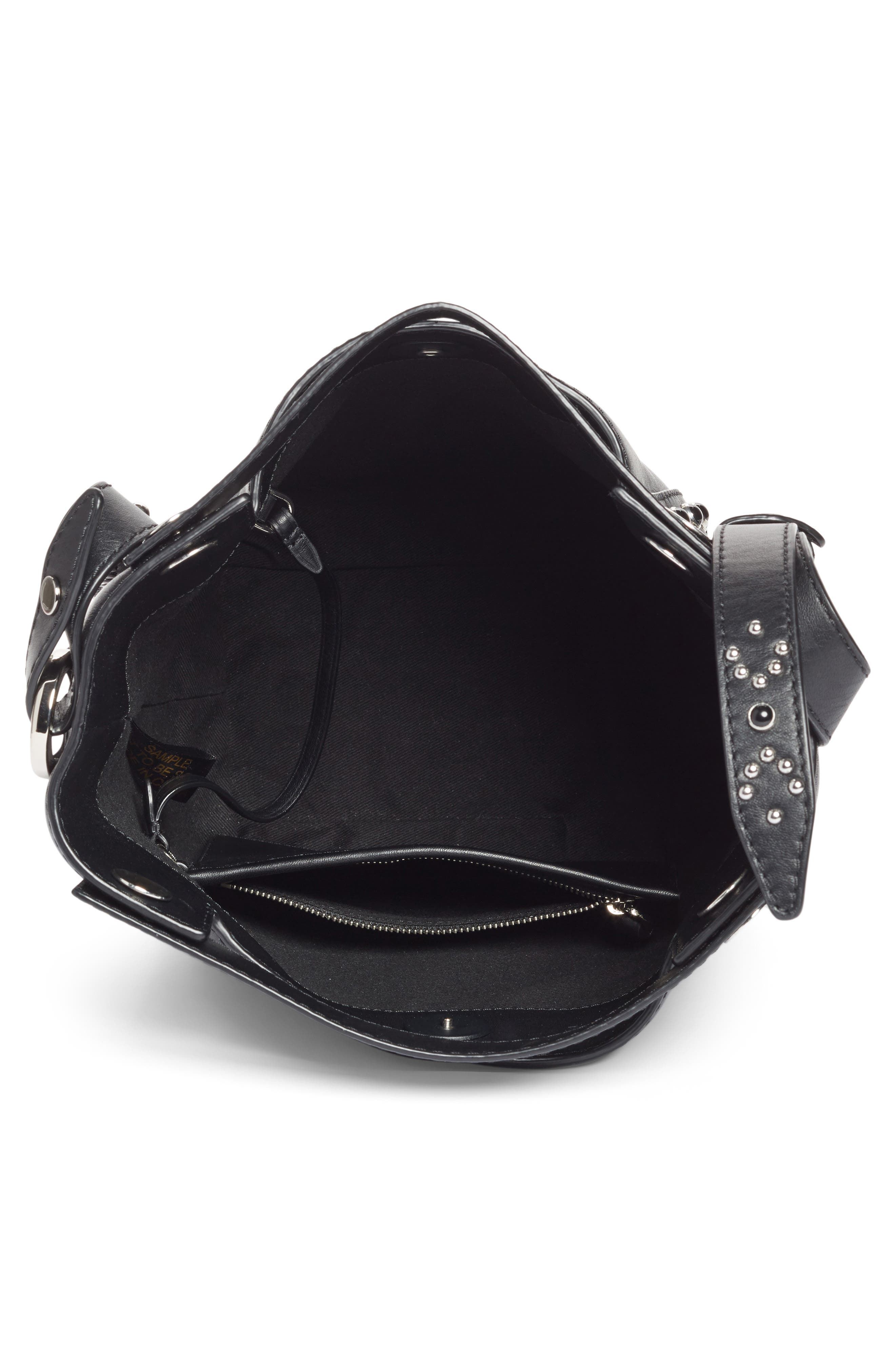 Small Dolly Studded Leather Tote,                             Alternate thumbnail 3, color,                             Black