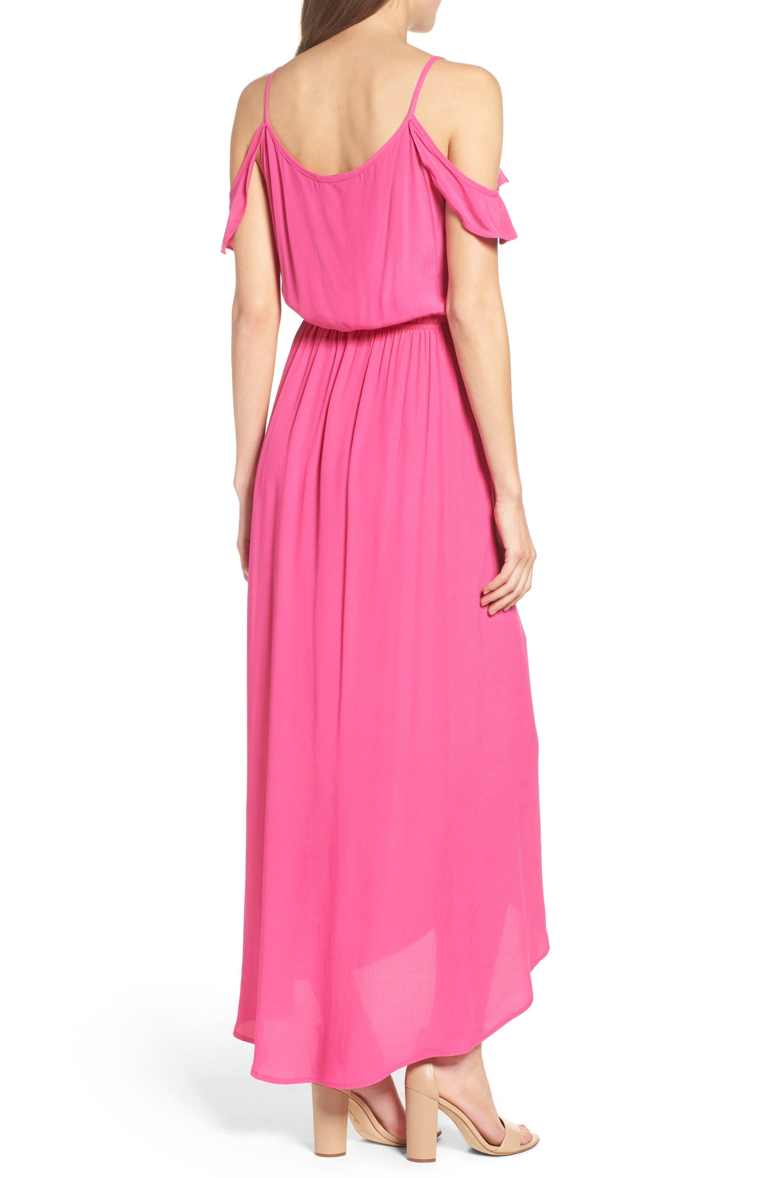 Cold Shoulder Maxi Dress,                             Alternate thumbnail 2, color,                             Pink