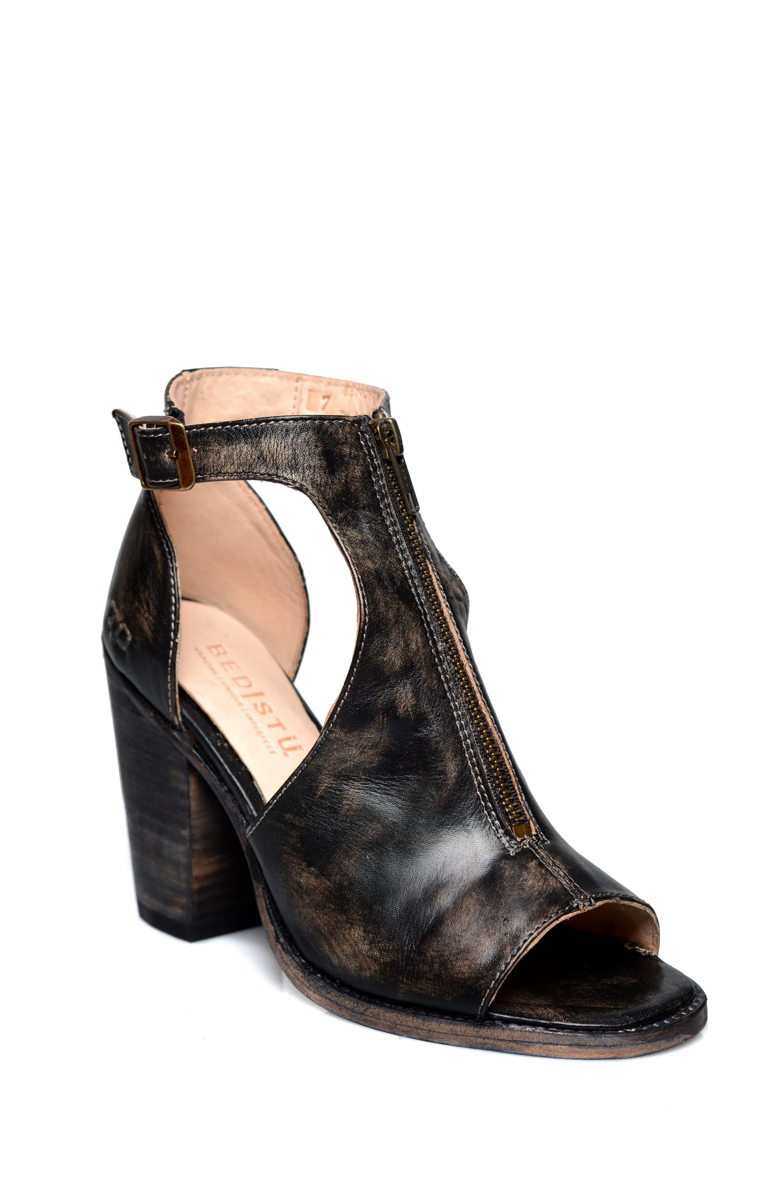 Olena Open Toe Bootie,                             Main thumbnail 1, color,                             Black Leather