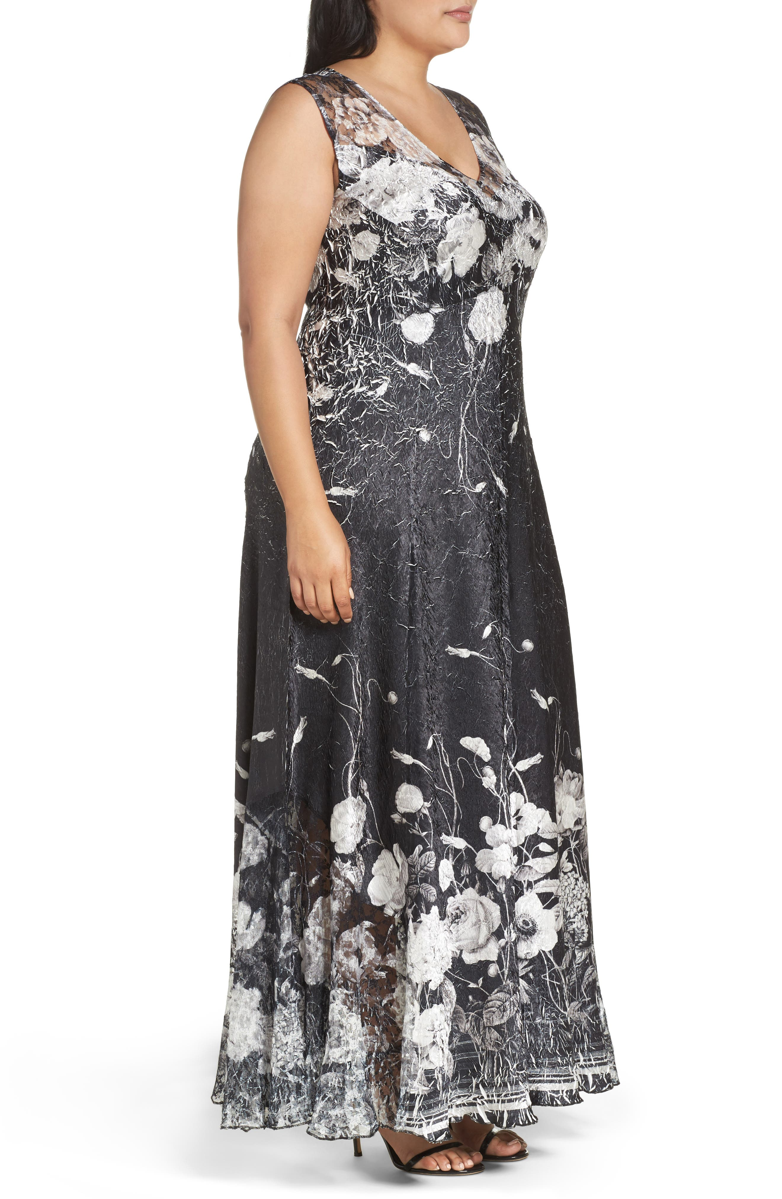 Lace-Up Back Floral Gown & Shawl,                             Alternate thumbnail 3, color,                             Black Opium