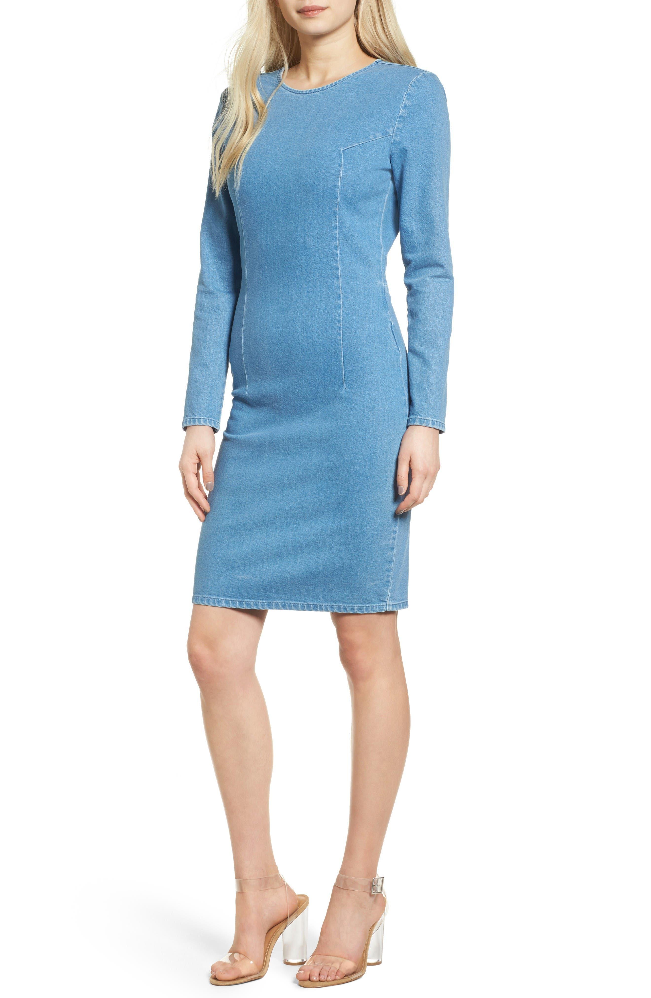 Long Sleeve Denim Dress,                         Main,                         color, Summer Blue