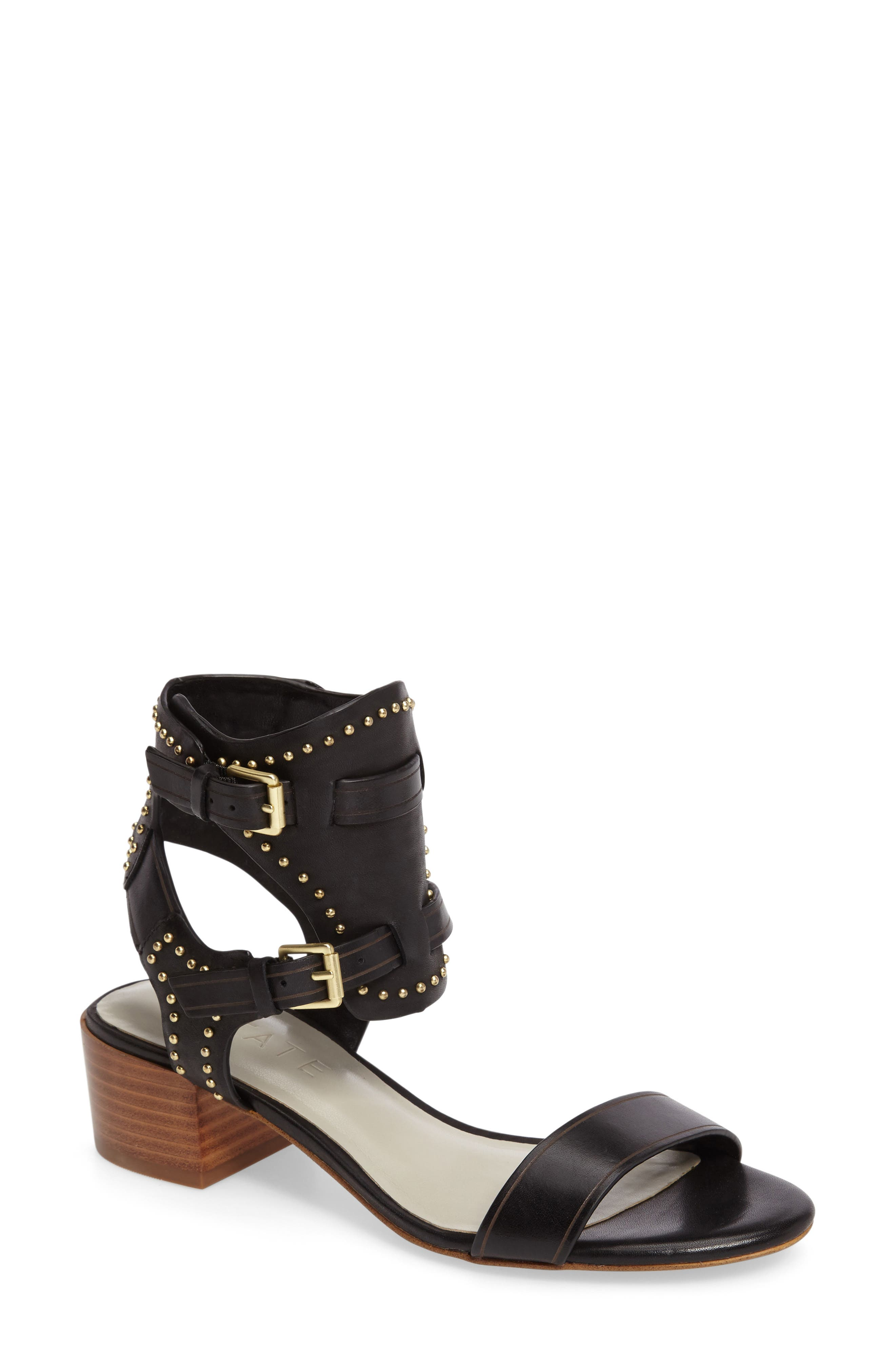 Rylen Sandal,                         Main,                         color, Black Leather