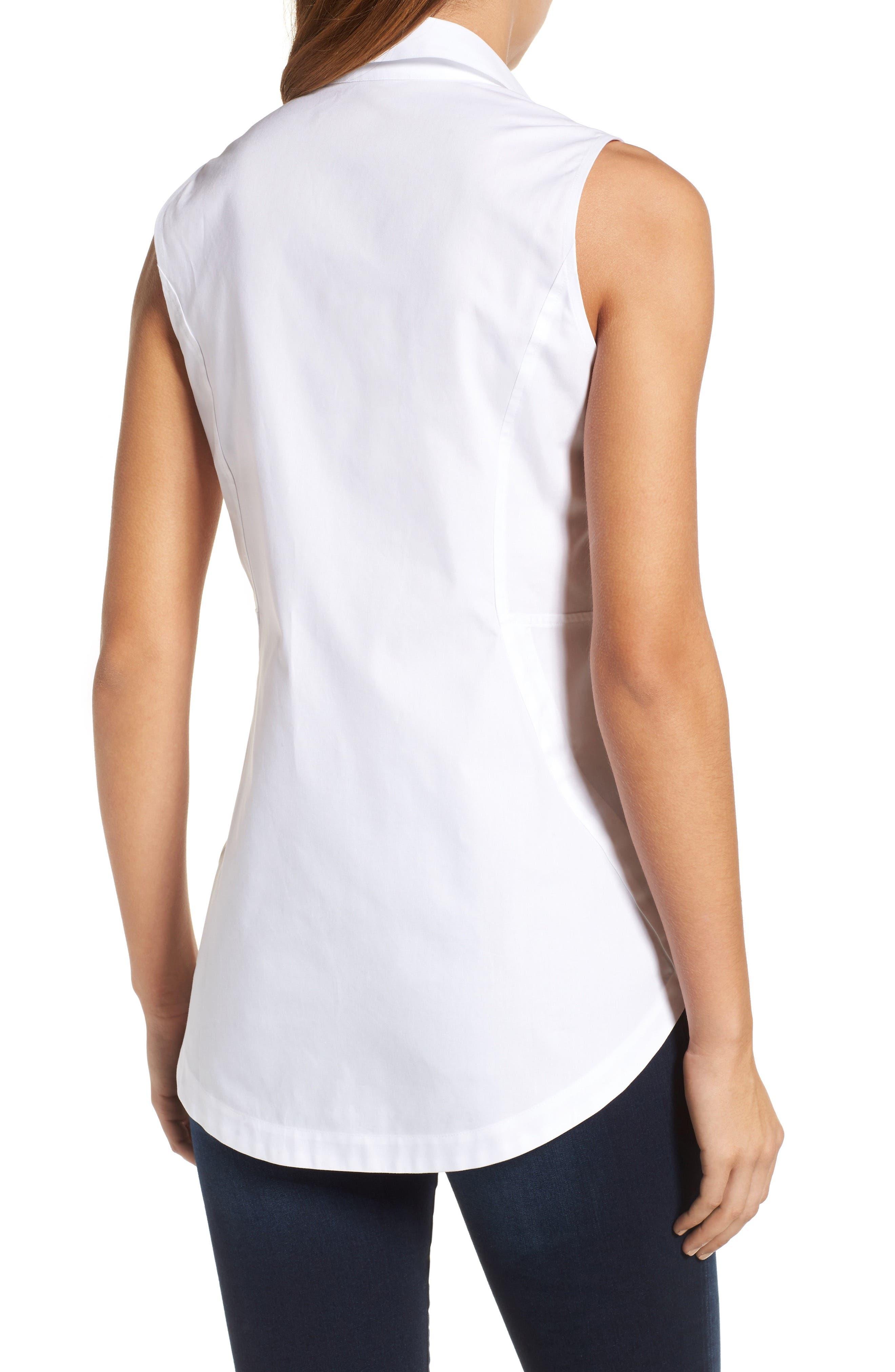 Alternate Image 2  - Foxcroft Sleeveless Cotton Tunic (Regular & Petite)