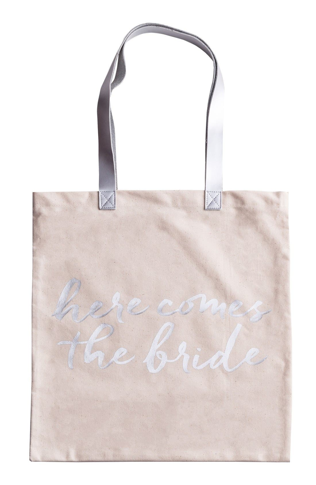 Here Comes The Bride Canvas Tote,                             Main thumbnail 1, color,                             White