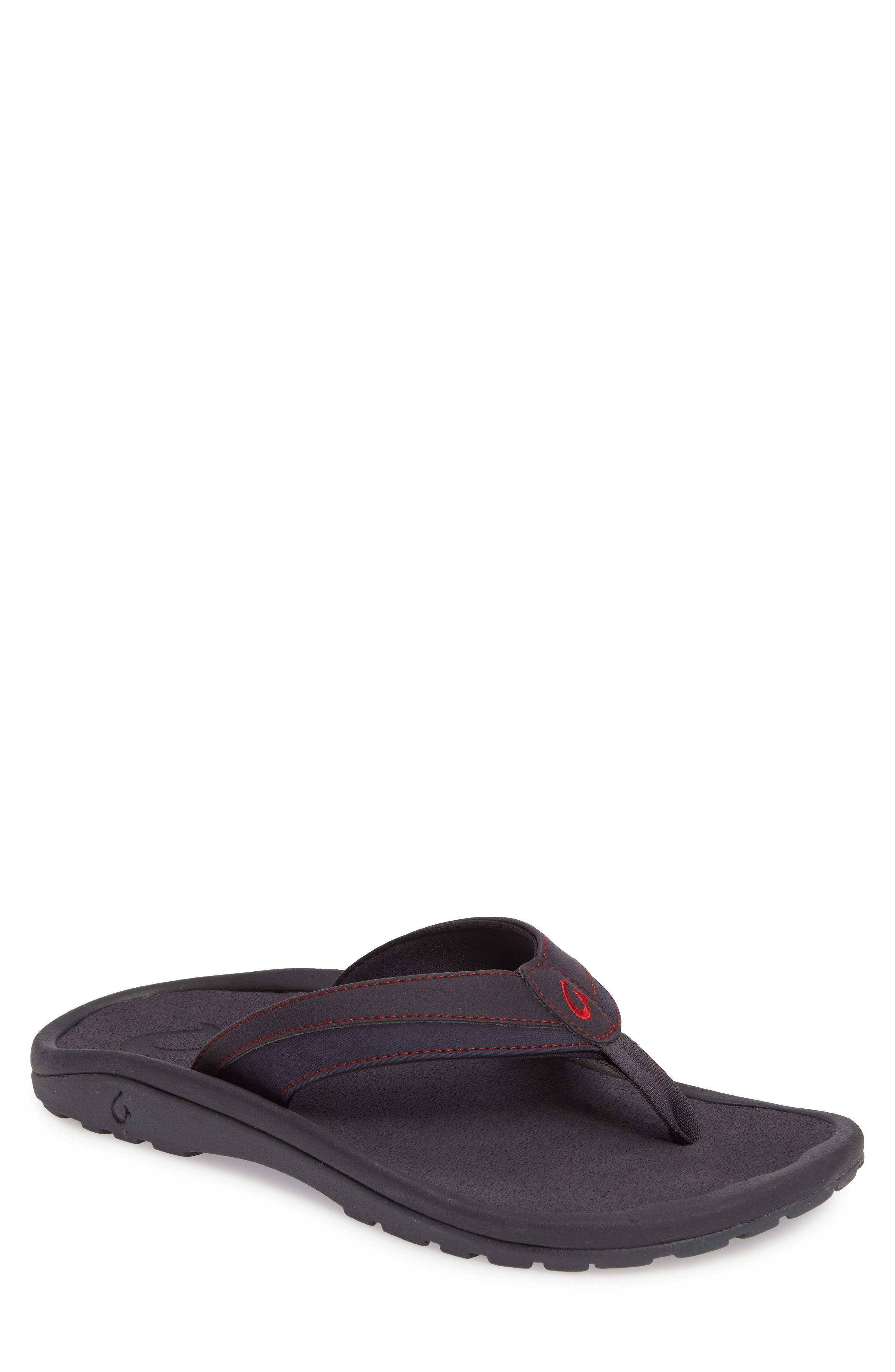 'Ohana Koa' Flip Flop,                         Main,                         color, Carbon/ Carbon
