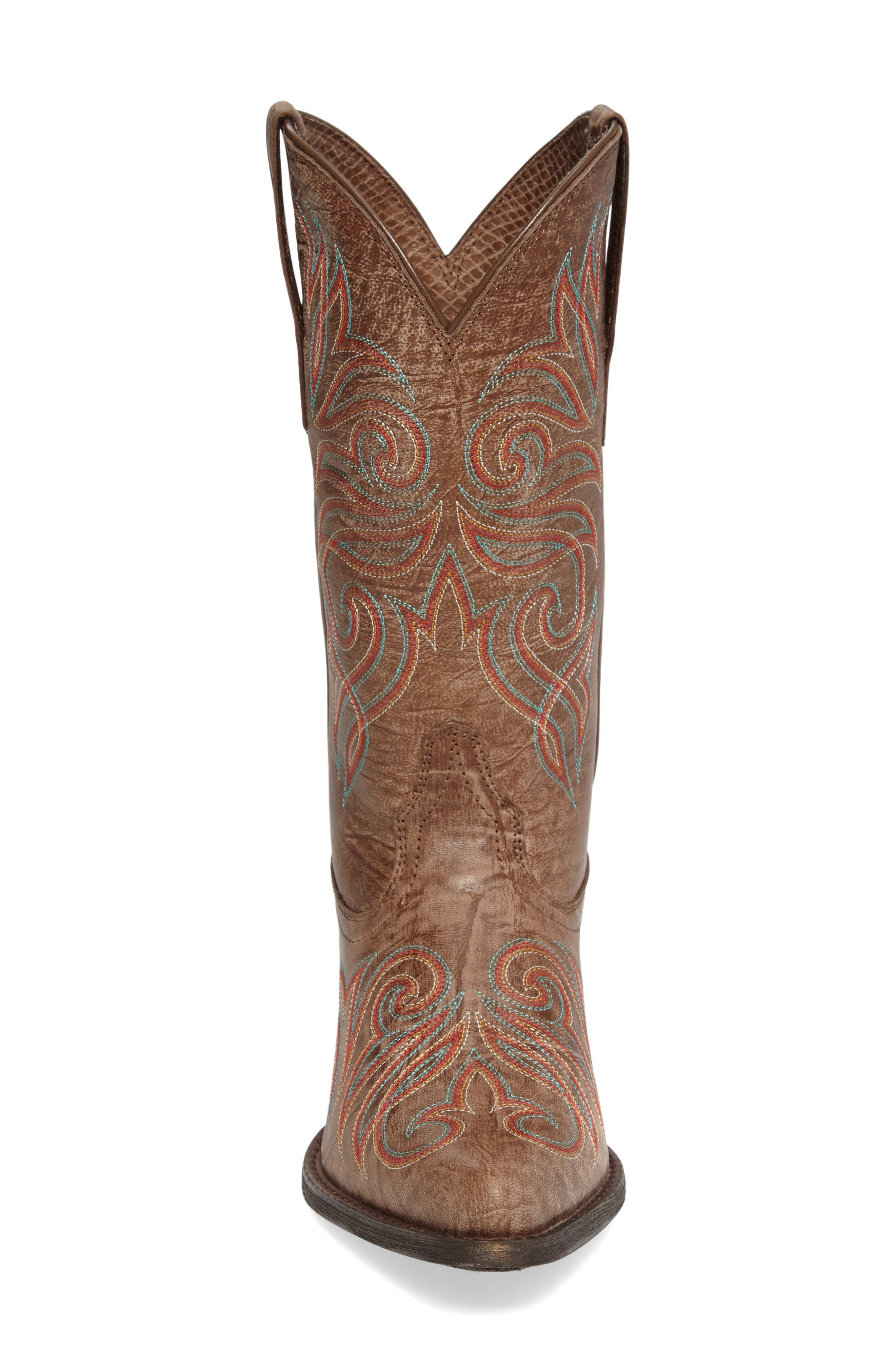 Round Up J-Toe Western Boot,                             Alternate thumbnail 3, color,                             Burnished Brown Leather