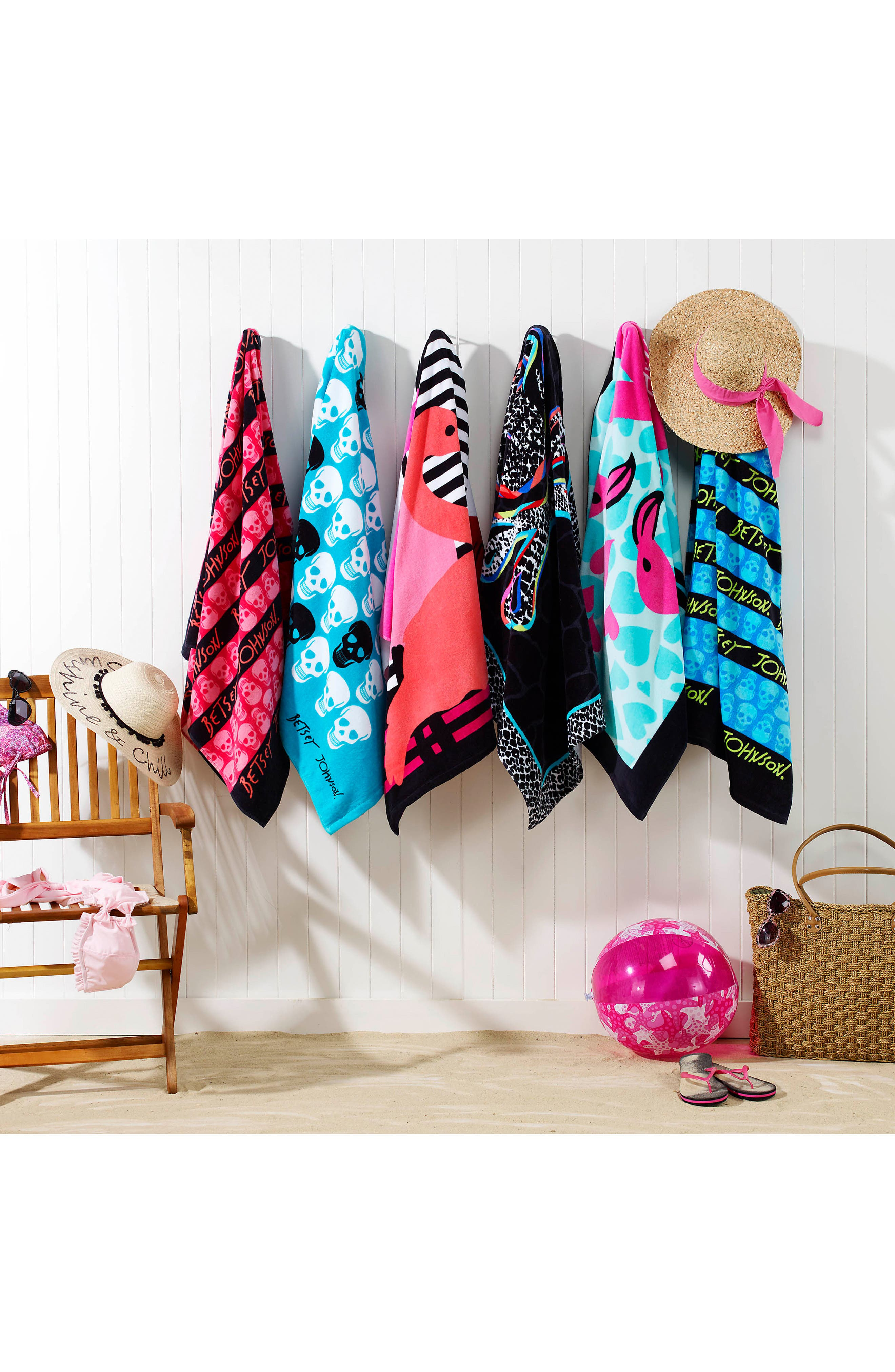 Alternate Image 2  - Betsey Johnson Skull Stripe Beach Towel Set
