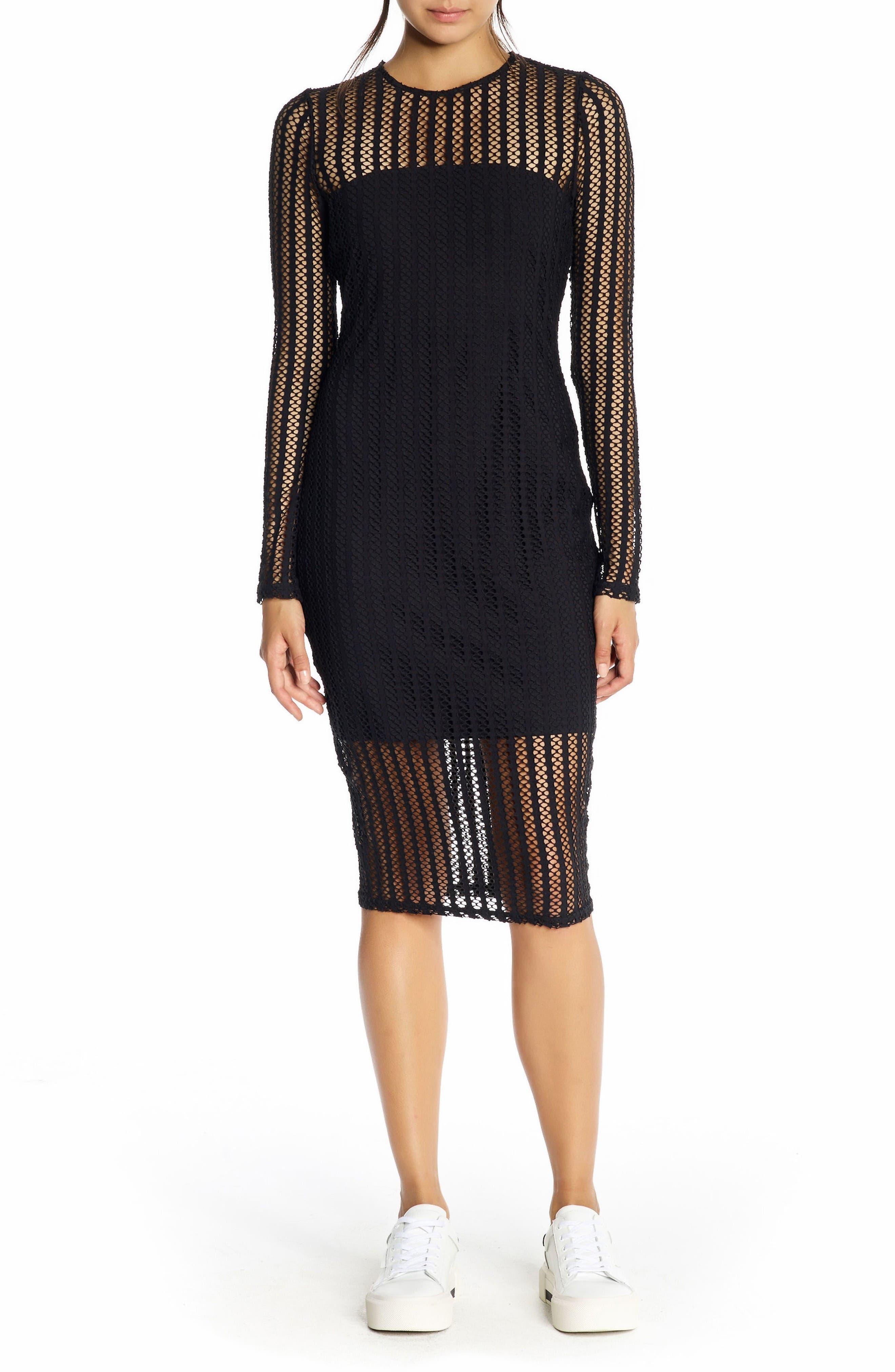 Main Image - KENDALL + KYLIE Lattice Jersey Dress