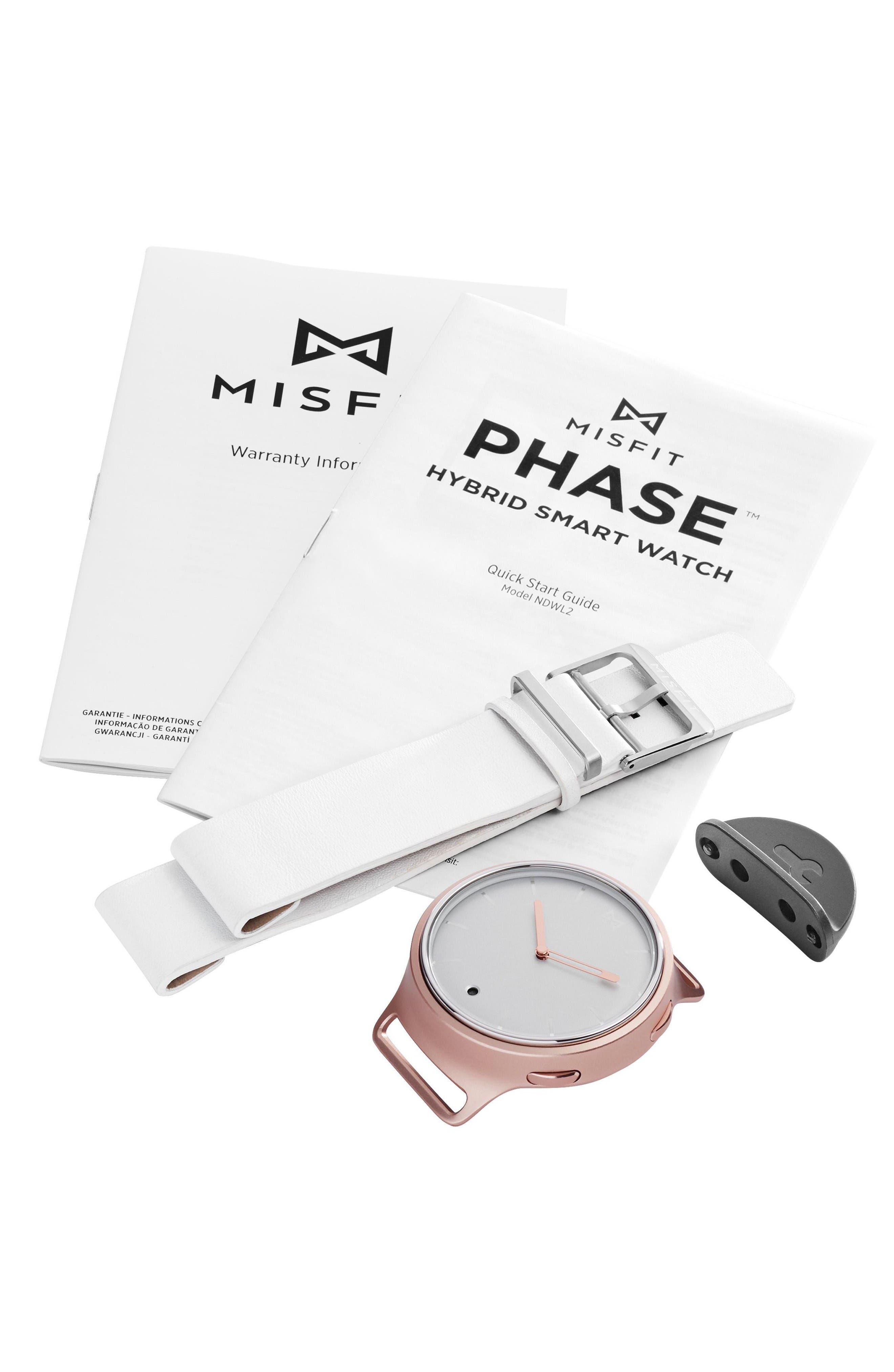 Phase Leather Strap Smart Watch, 40mm,                             Alternate thumbnail 4, color,                             White/ Gold