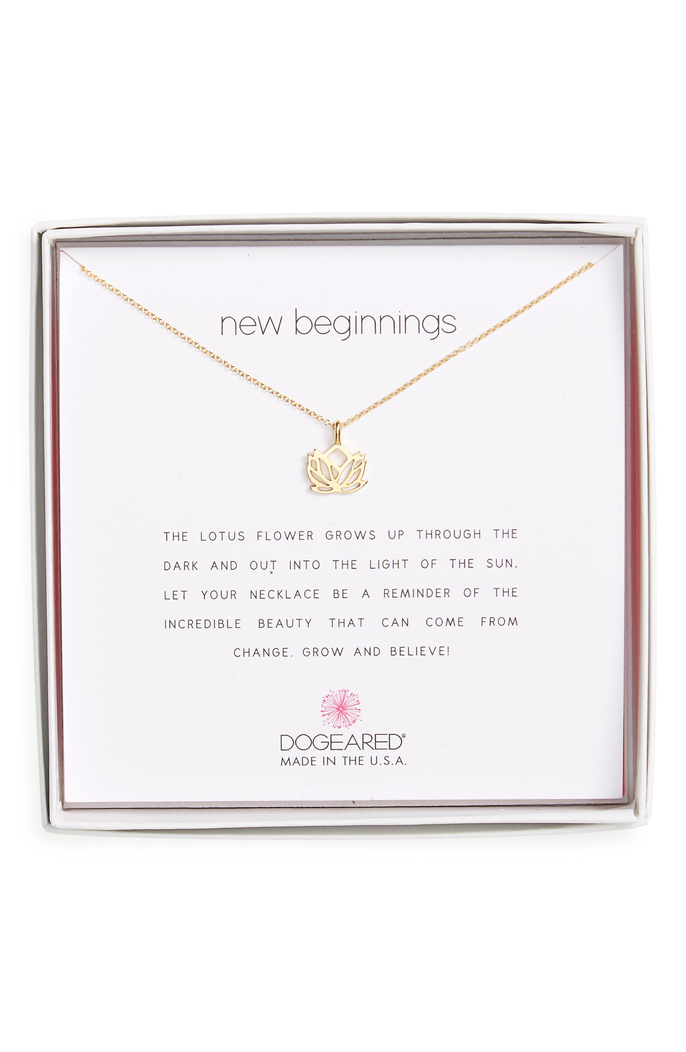 Main Image - Dogeared Lotus Reminder Pendant Necklace