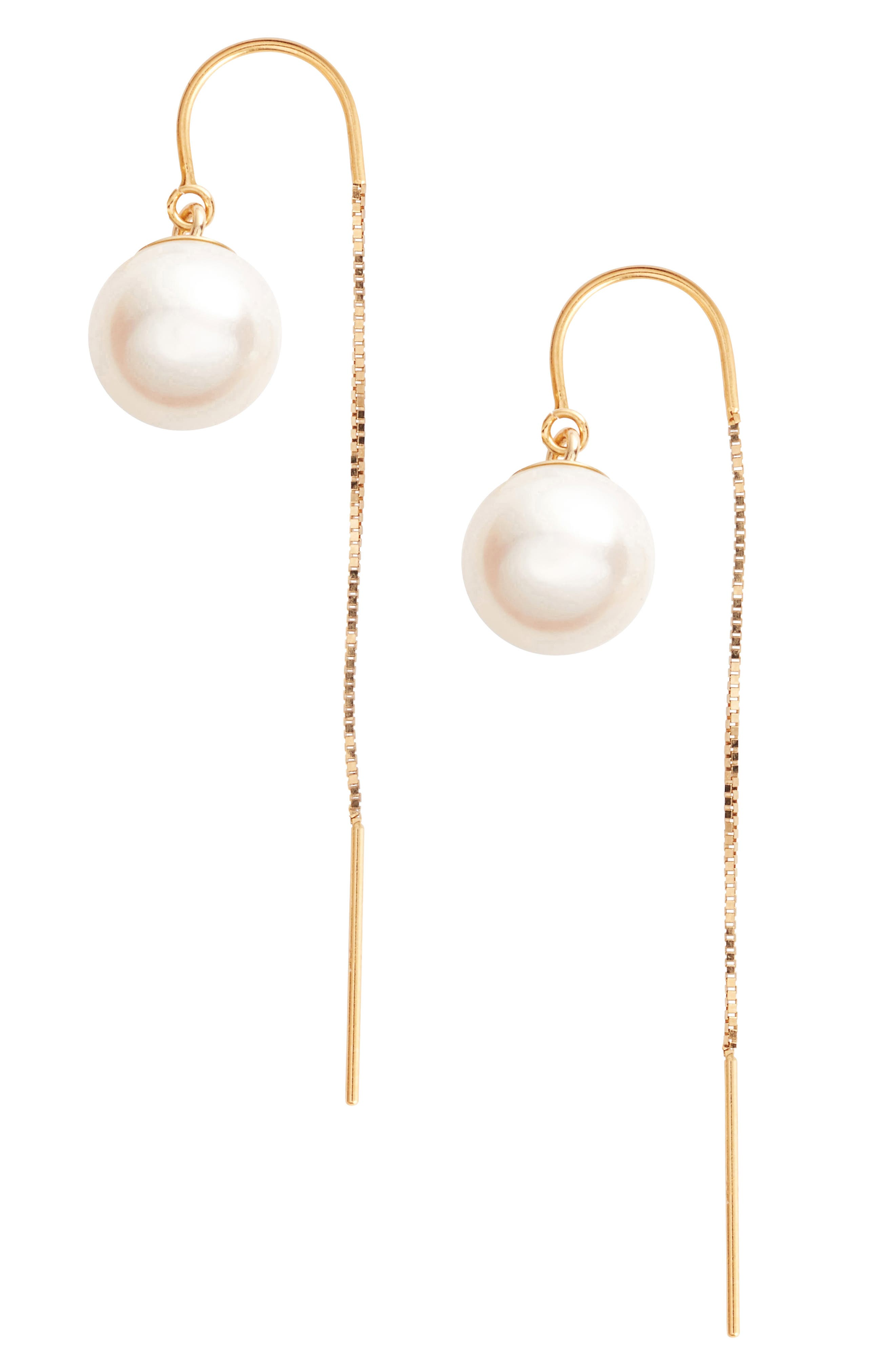 Poppy Finch Pearl Threader Earrings