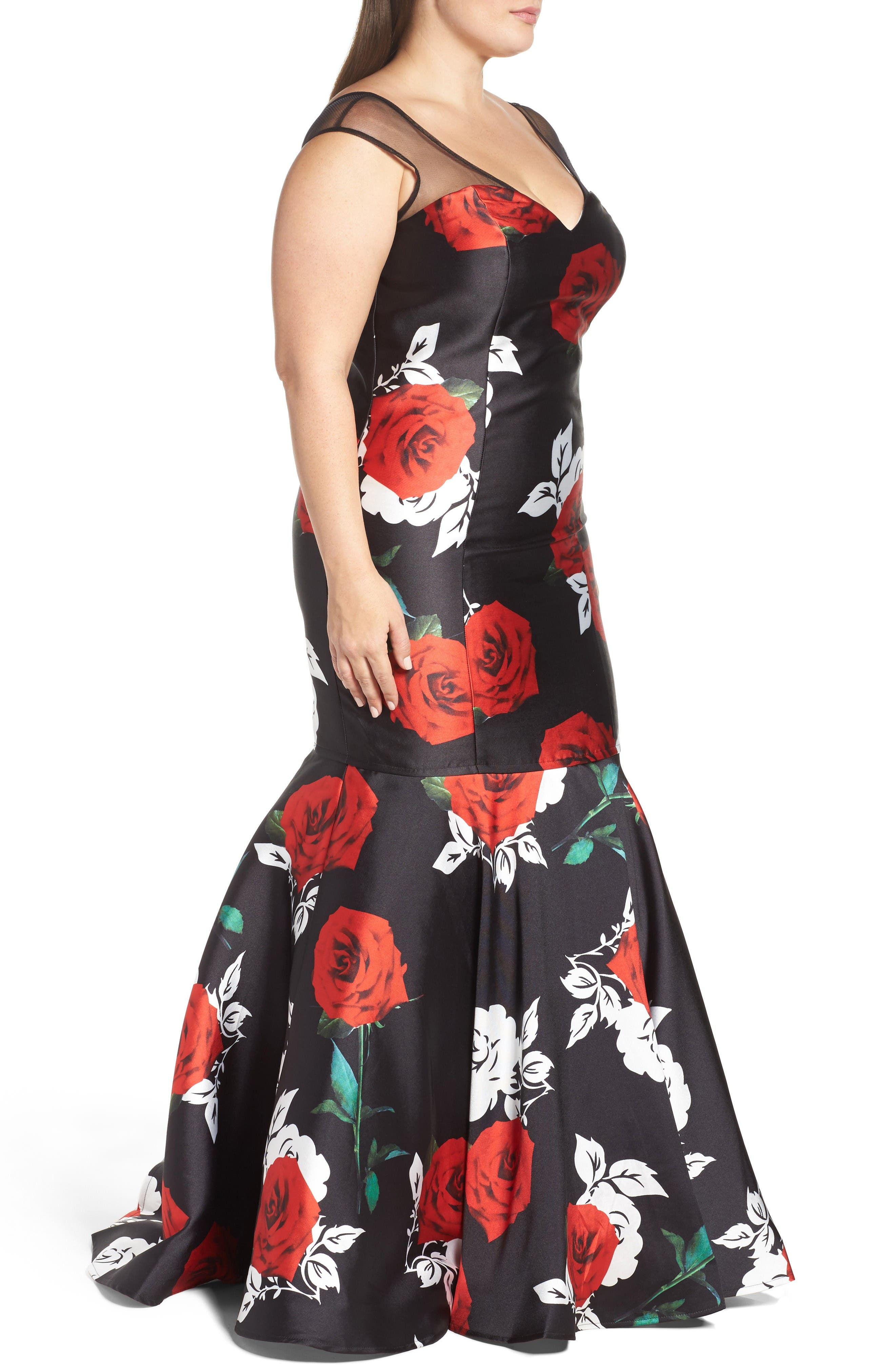 Alternate Image 3  - Mac Duggal Rose Print Mermaid Gown (Plus Size)