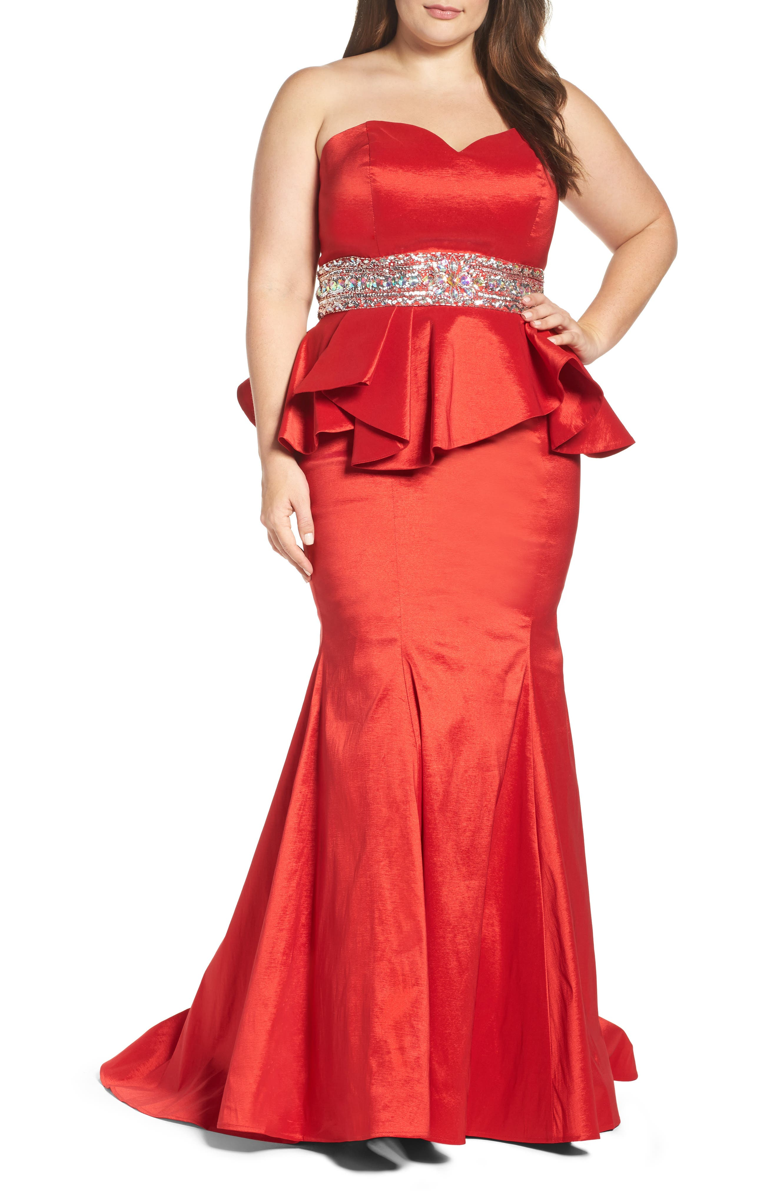 Mac Duggal Beaded Bustier Peplum Gown (Plus Size)