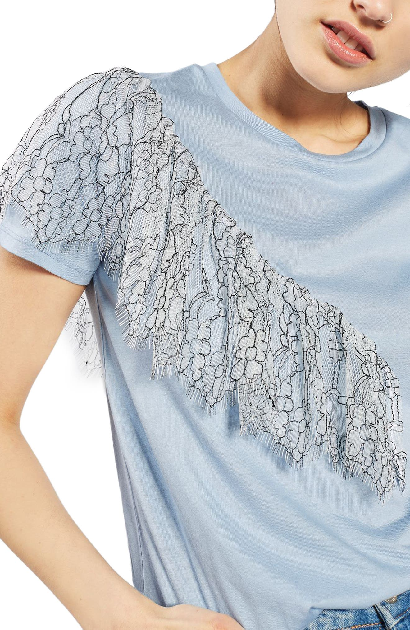 Alternate Image 5  - Topshop Lace Ruffle Tee