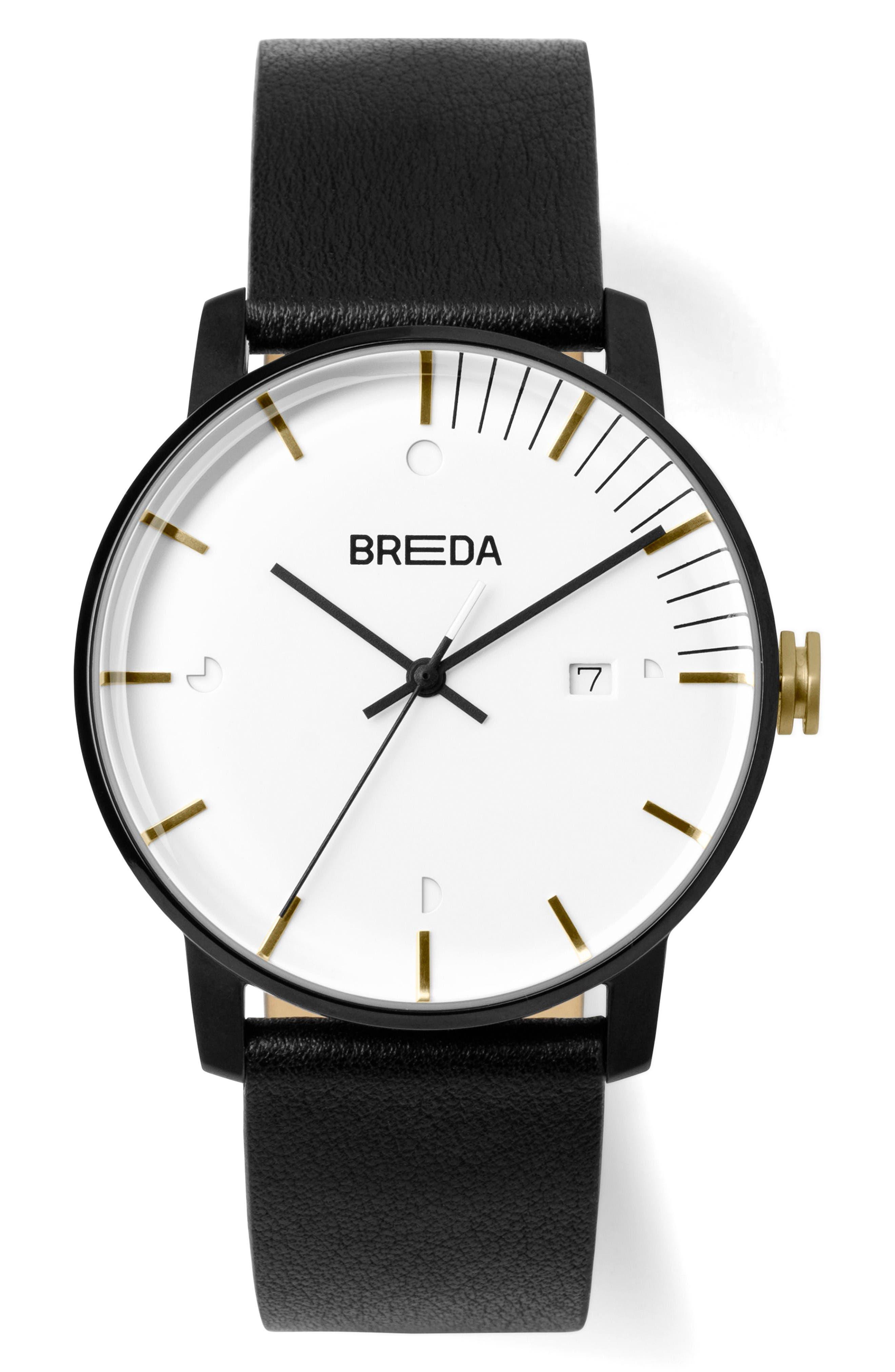 BREDA Phase Leather Strap Watch, 39mm