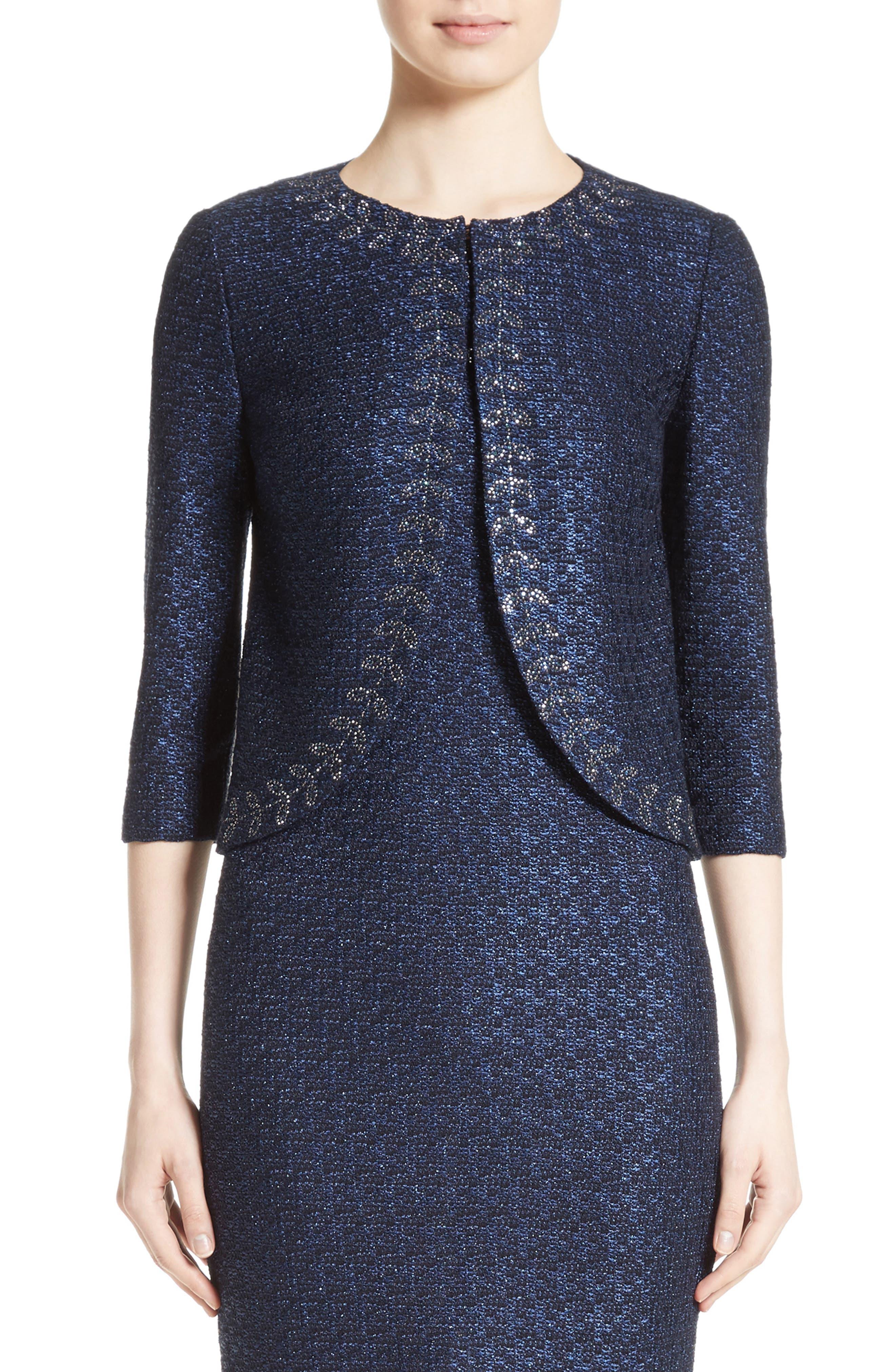 Jiya Sparkle Knit Jacket,                         Main,                         color, Navy
