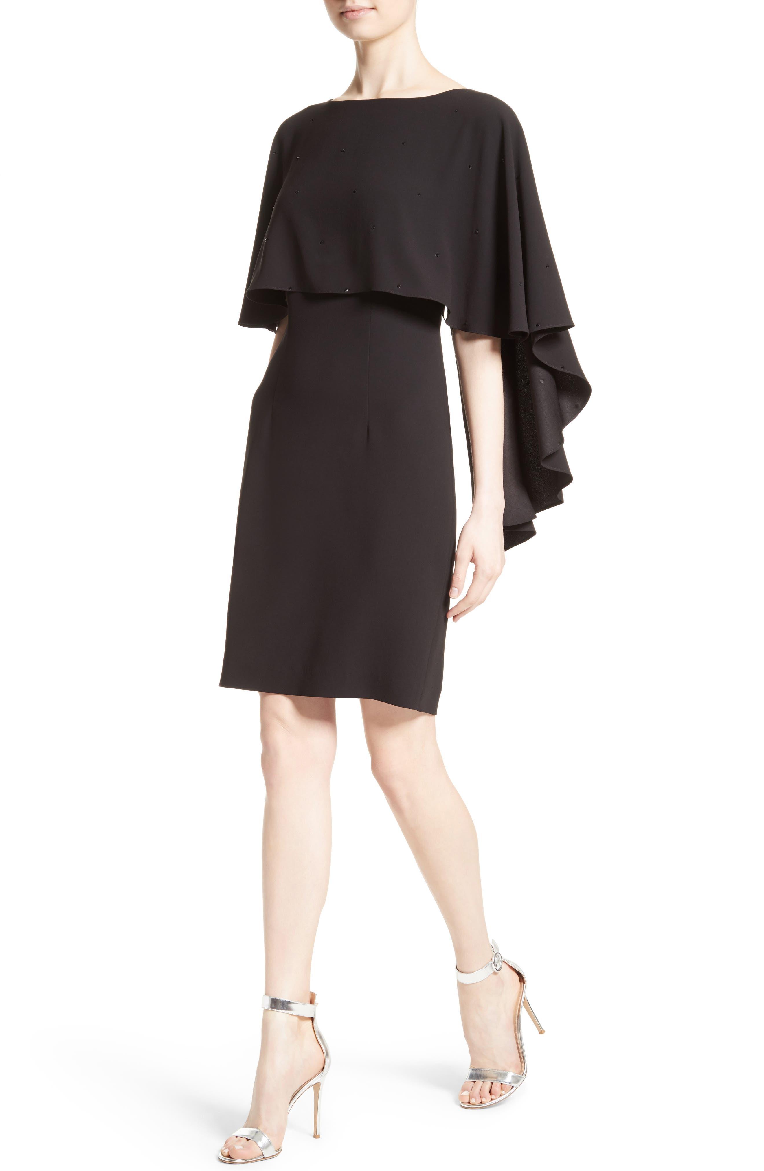 Alternate Image 4  - St. John Collection Satin Back Crepe Cape Dress