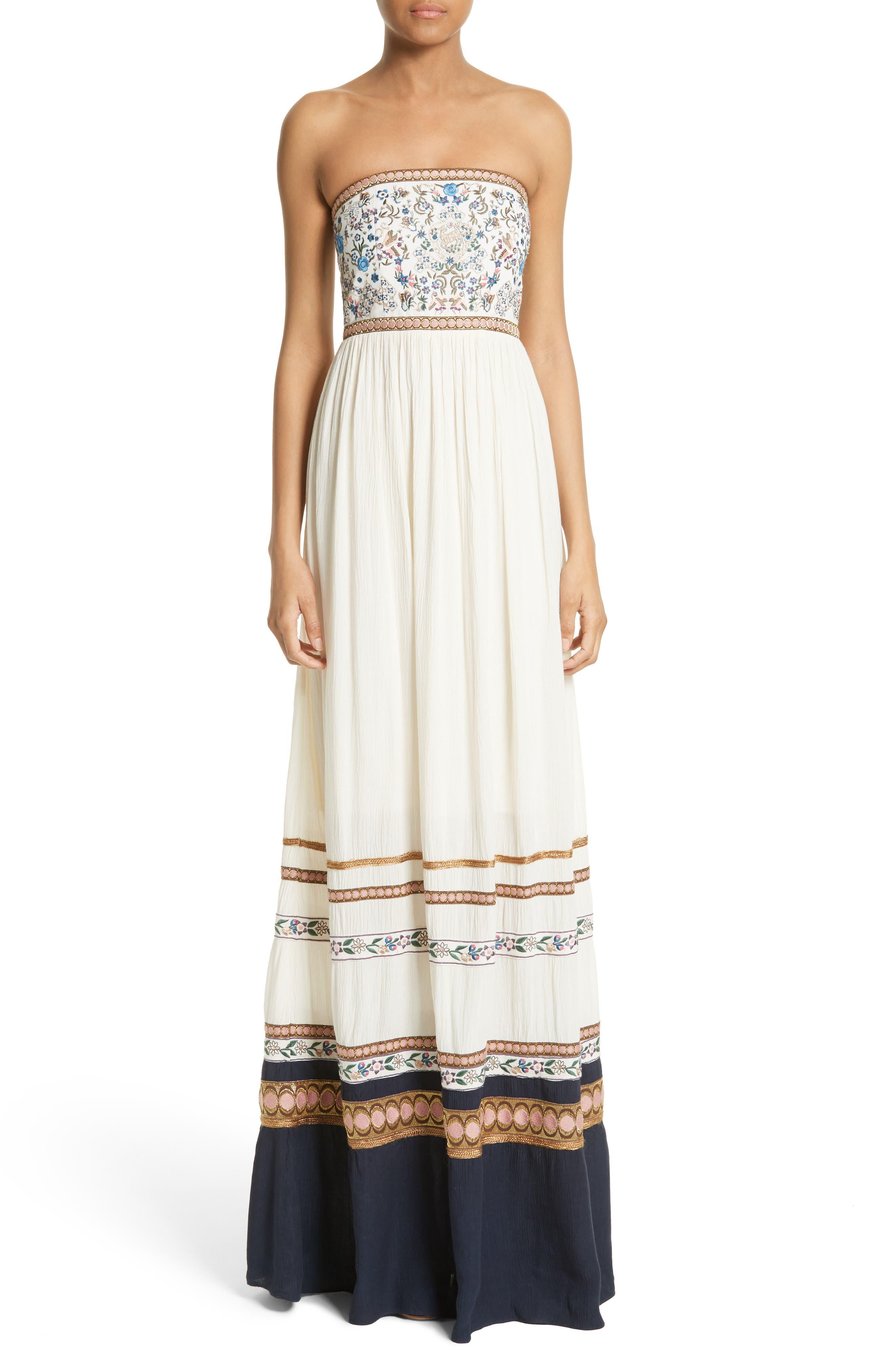 Alternate Image 1 Selected - Alice + Olivia Quyen Embroidered Maxi Dress
