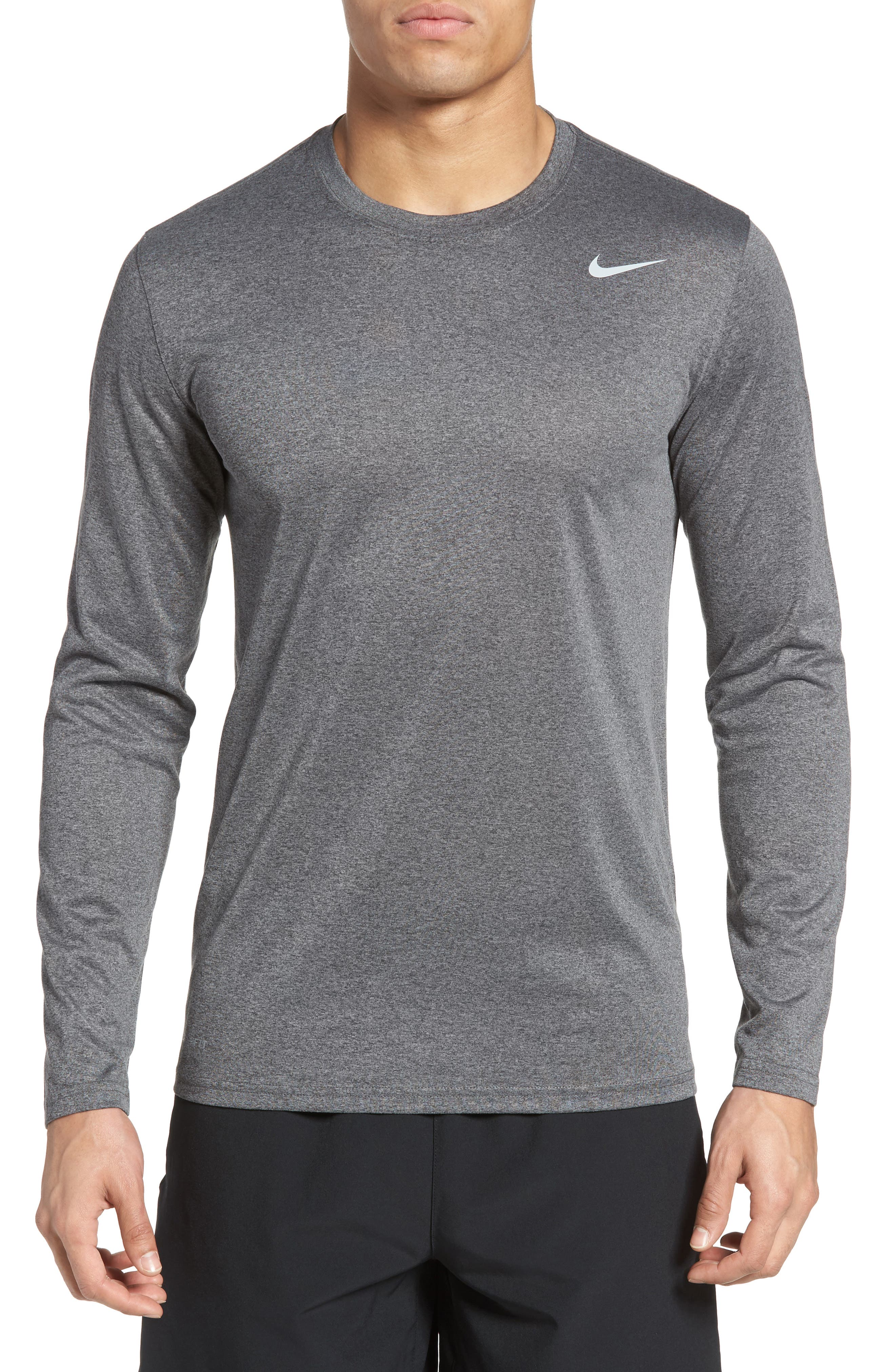 'Legend 2.0' Long Sleeve Dri-FIT Training T-Shirt,                         Main,                         color, Charcoal/ Silver