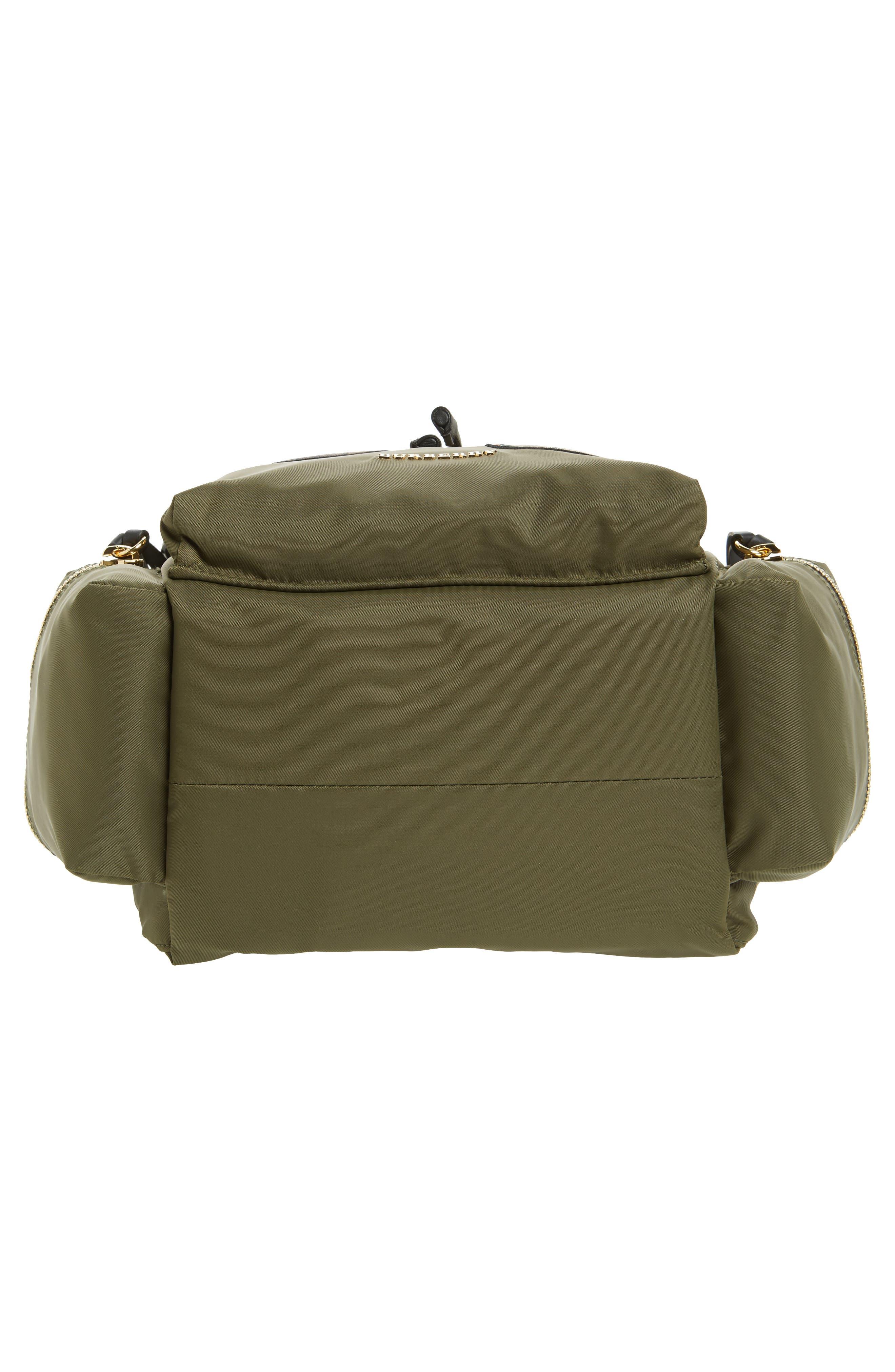 Medium Patches Rucksack Nylon Backpack,                             Alternate thumbnail 5, color,                             Canvas Green