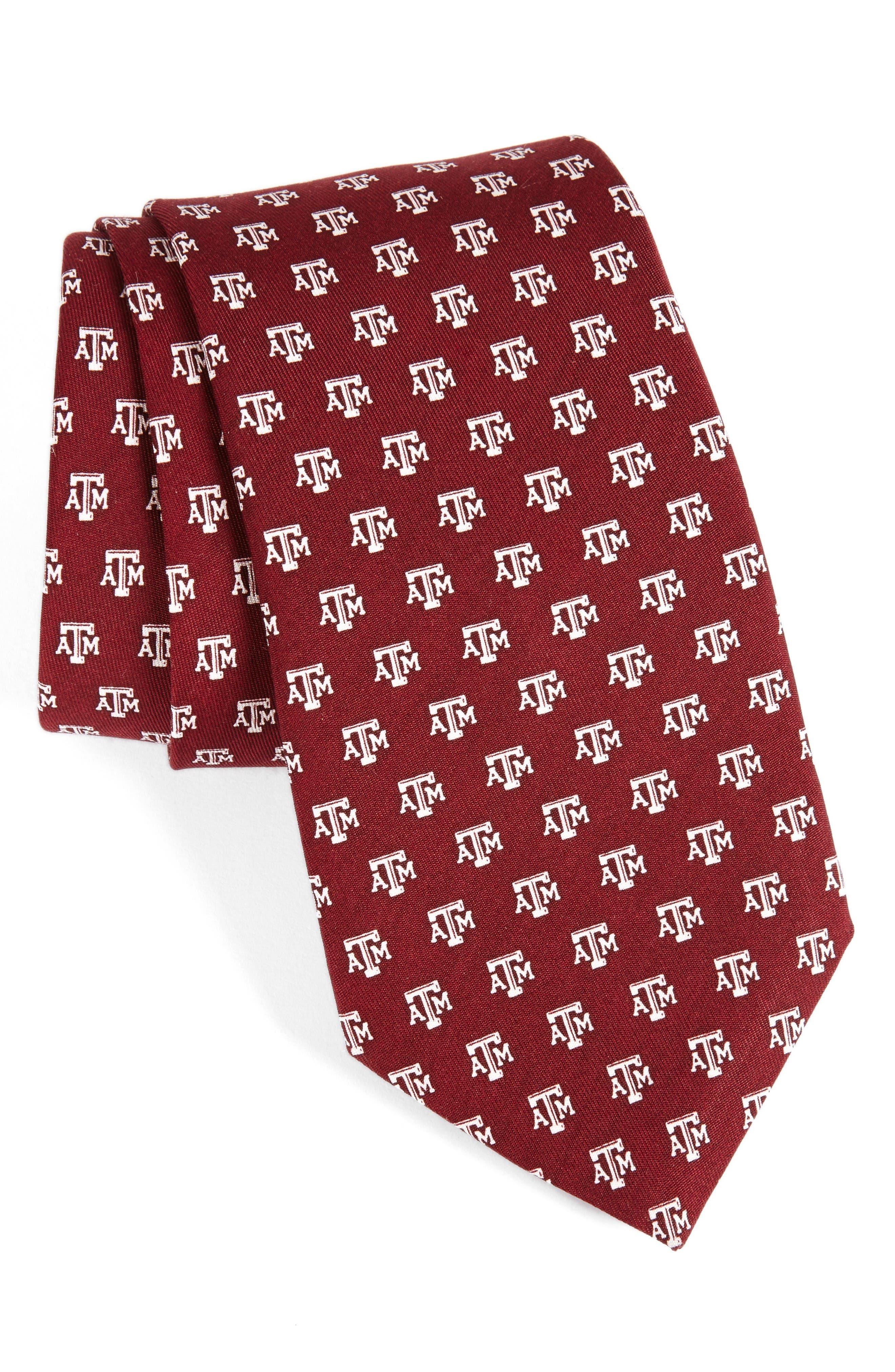 Texas A&M University Silk Tie,                             Main thumbnail 1, color,                             Dark Red