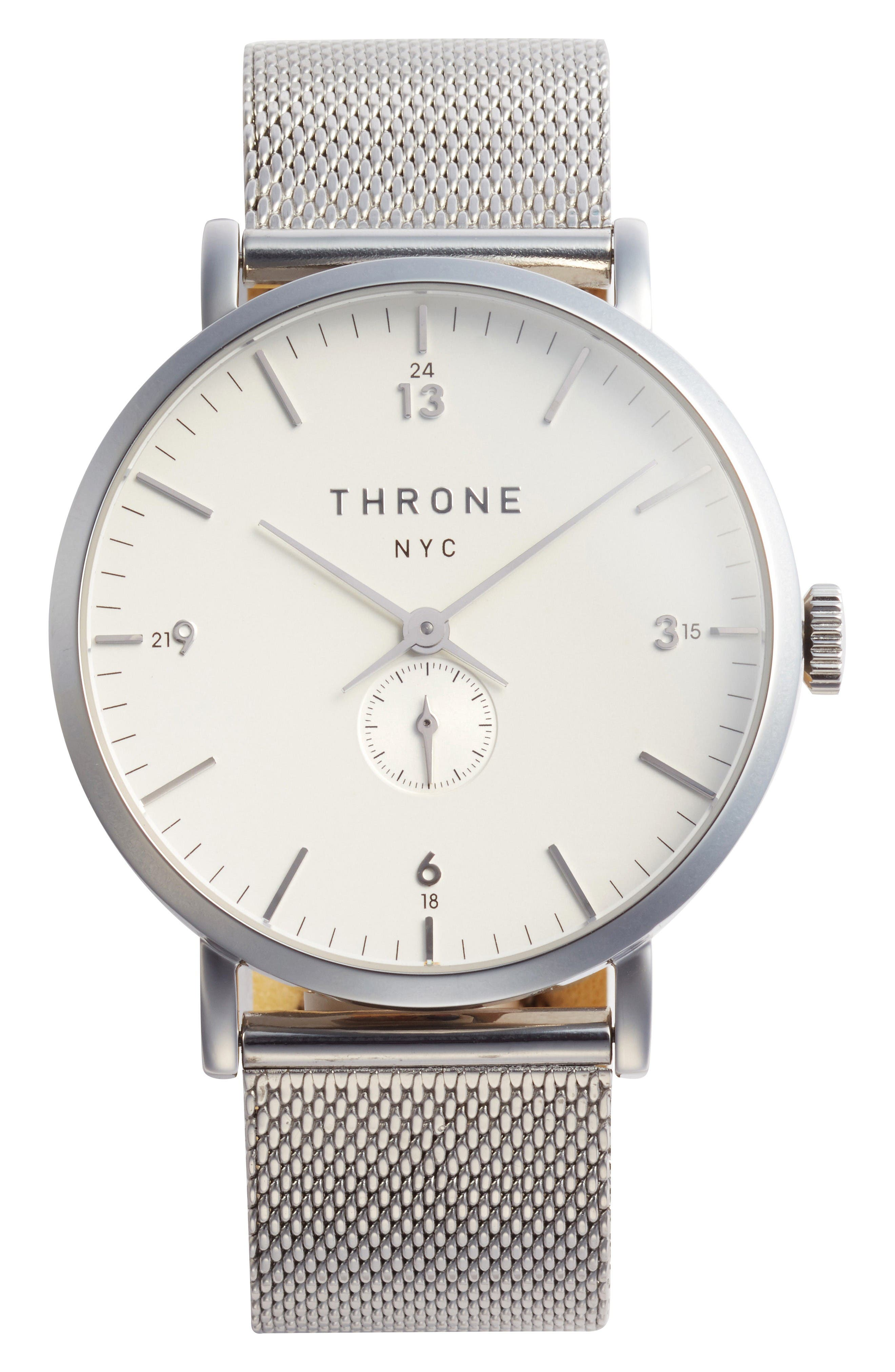 1.0 Mesh Strap Watch, 40mm,                             Main thumbnail 1, color,                             Silver/ White