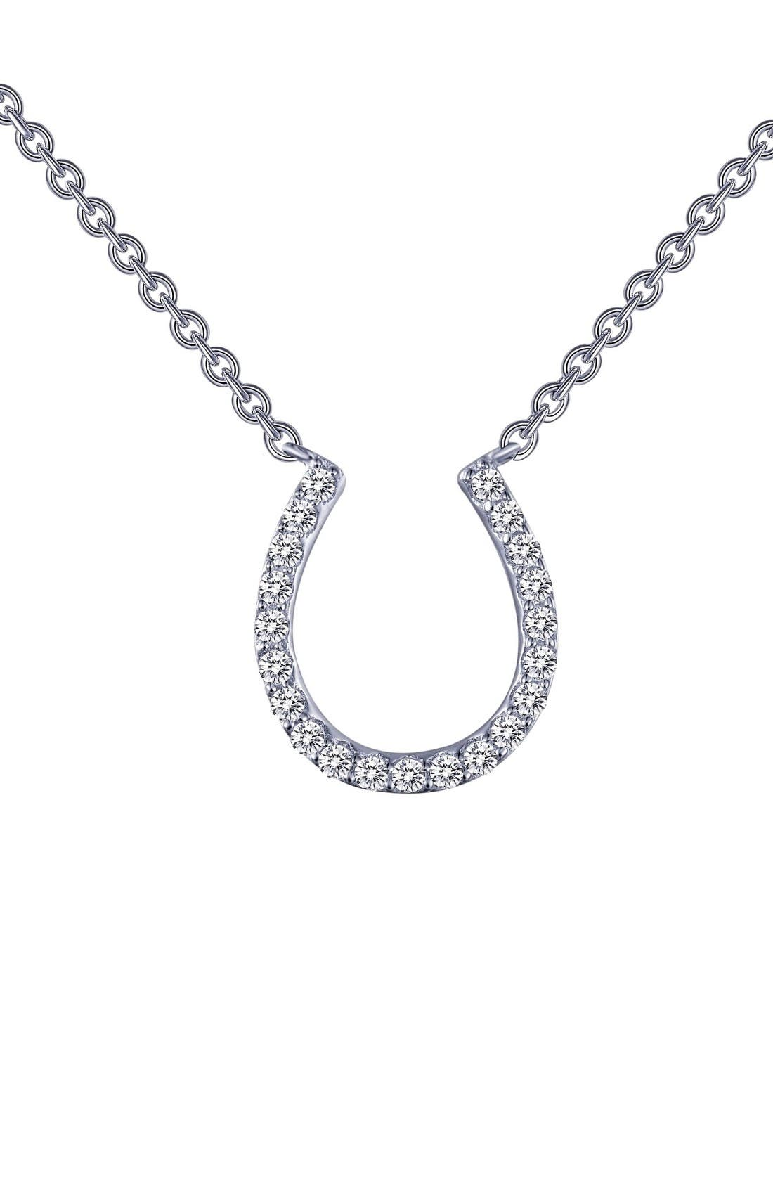 Main Image - Lafonn Horseshoe Simulated Diamond Pendant Necklace