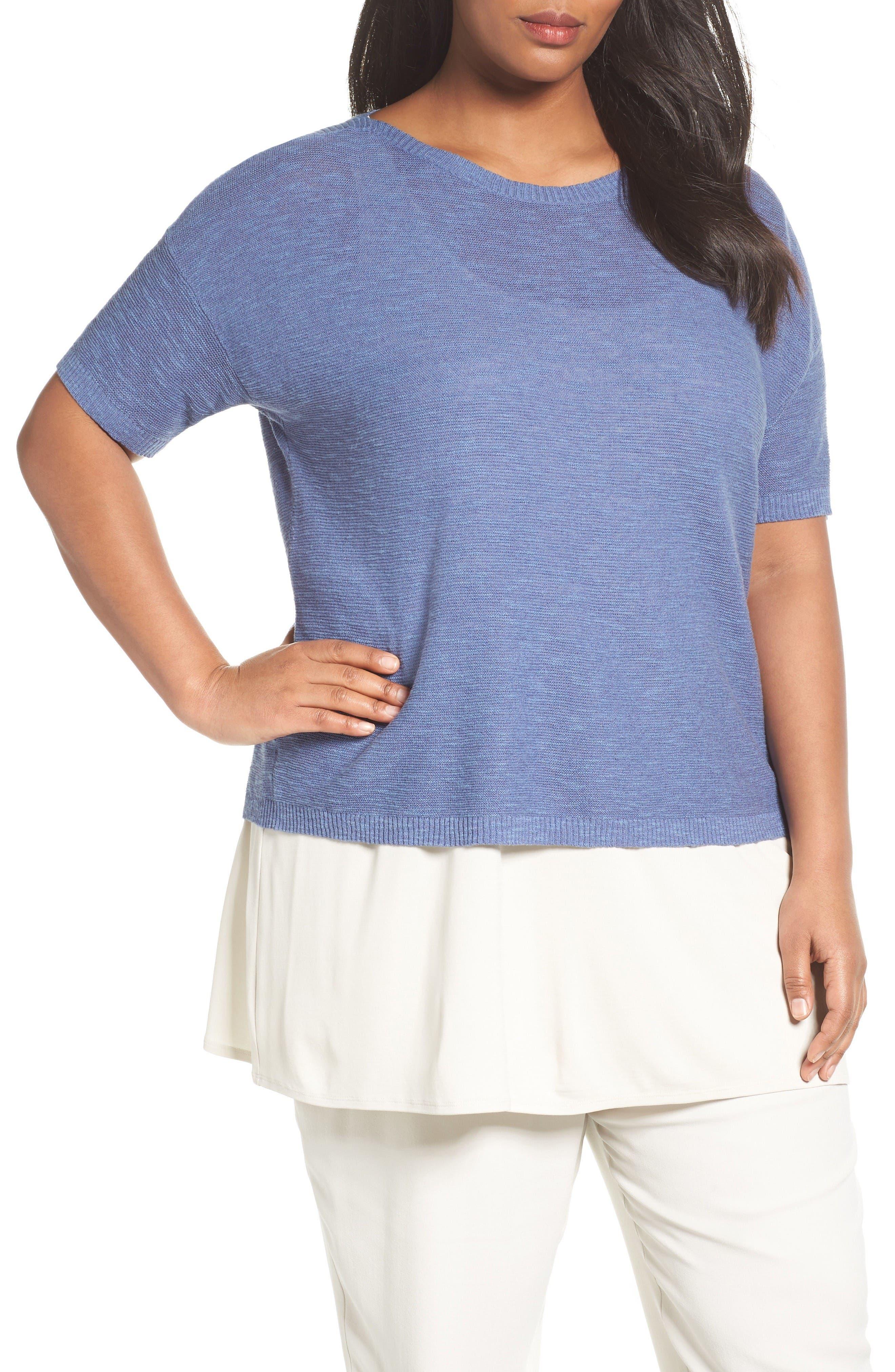 Eileen Fisher Organic Linen & Cotton Short Sweater (Plus Size)