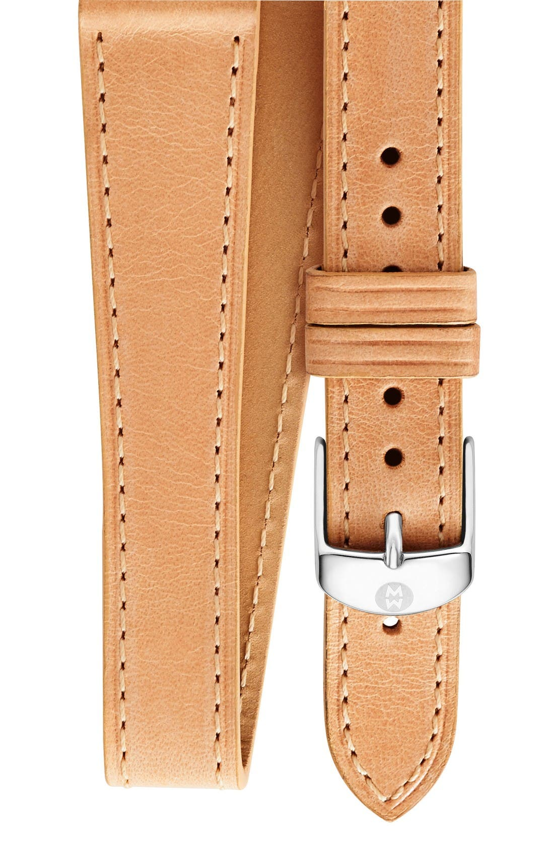 Main Image - MICHELE 18mm Leather Wrap Watch Strap