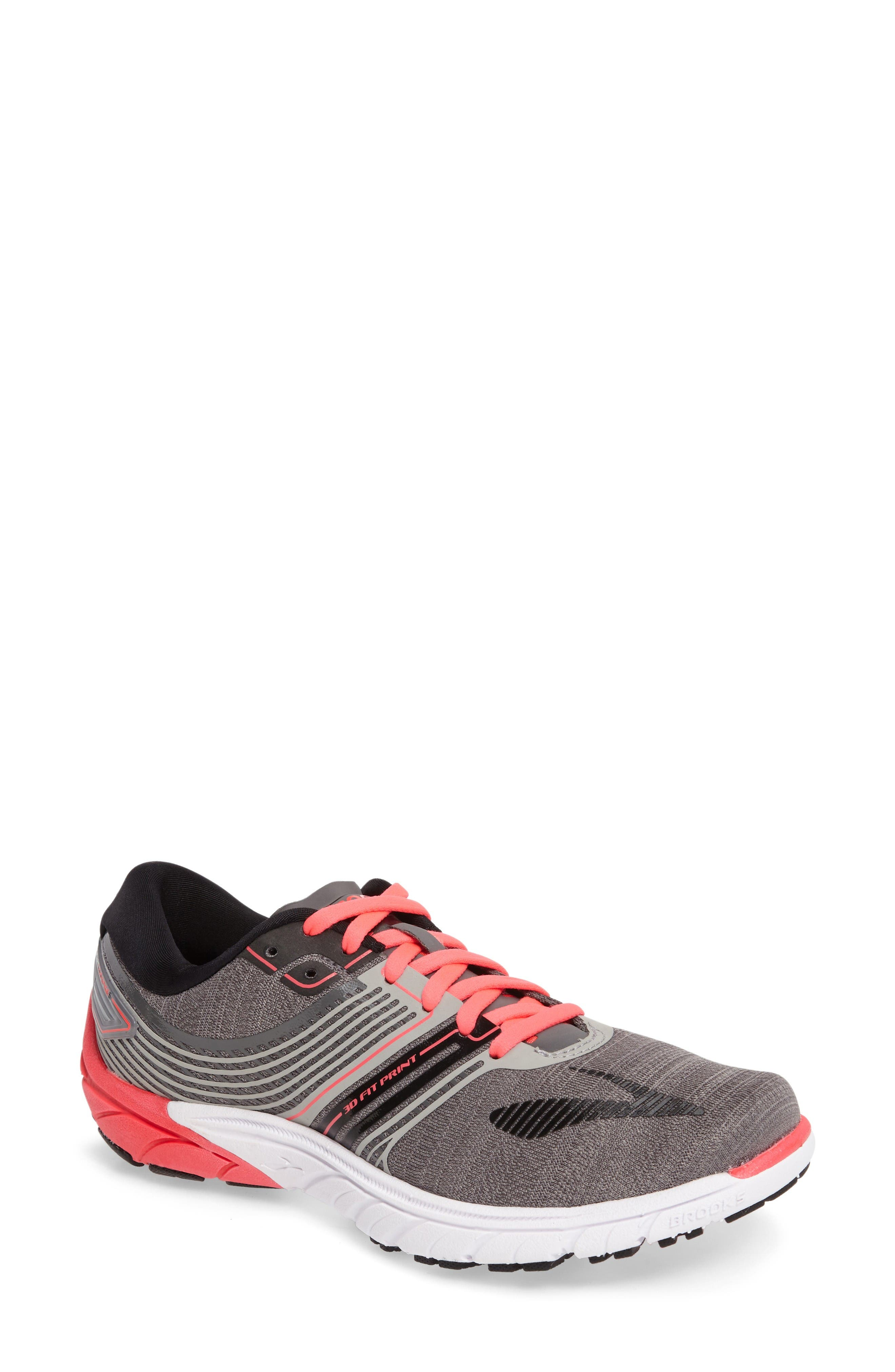 PureCadence 6 Running Shoe,                             Main thumbnail 1, color,                             Castle Rock/ Black/ Diva Pink
