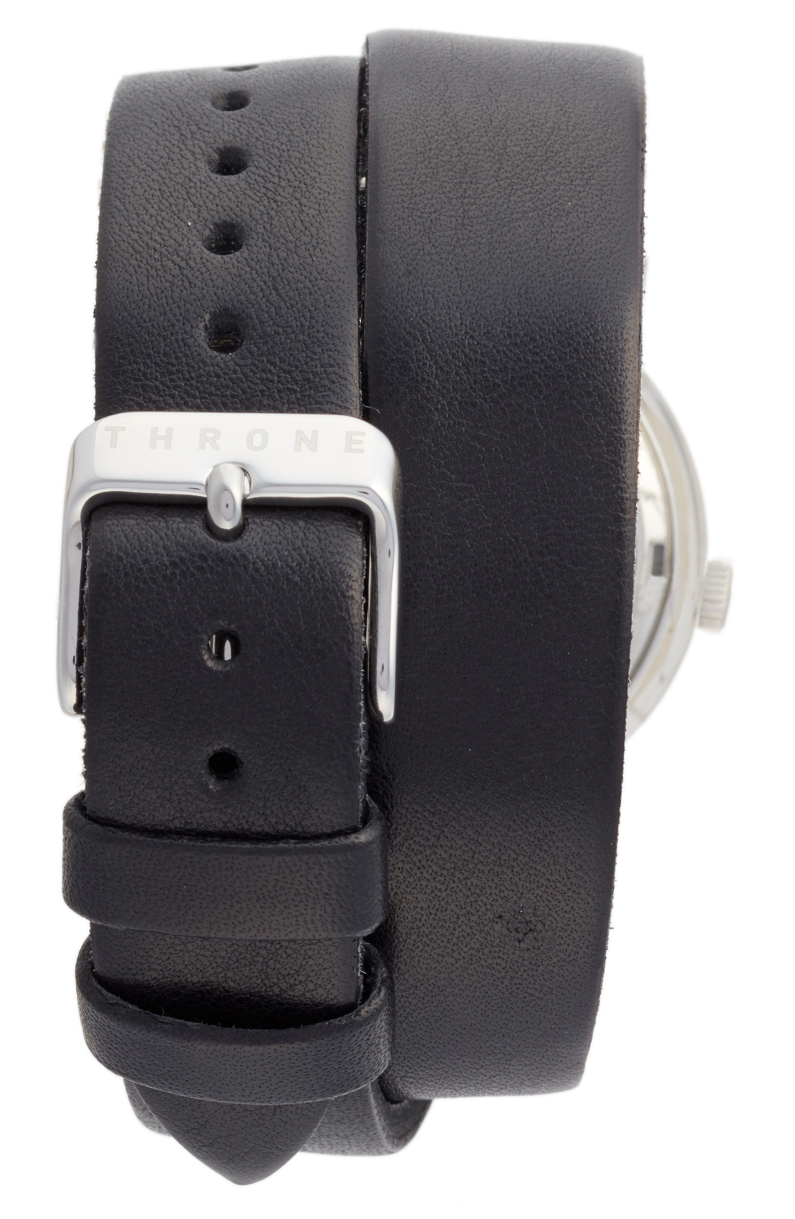1.0 Leather Wrap Strap Watch, 36mm,                             Alternate thumbnail 2, color,                             Black/ Silver