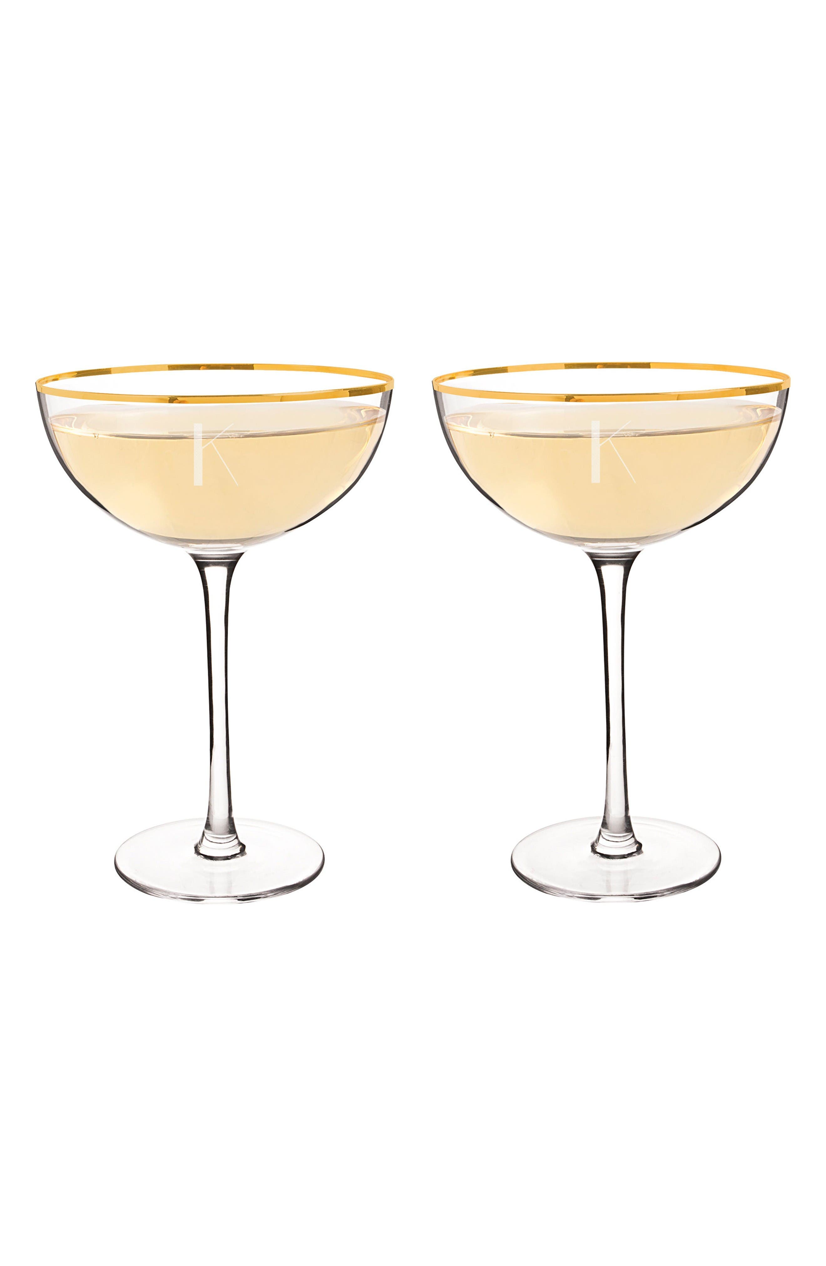 Alternate Image 2  - Cathy's Concepts Set of 2 Gold Rim Monogram Champagne Flutes