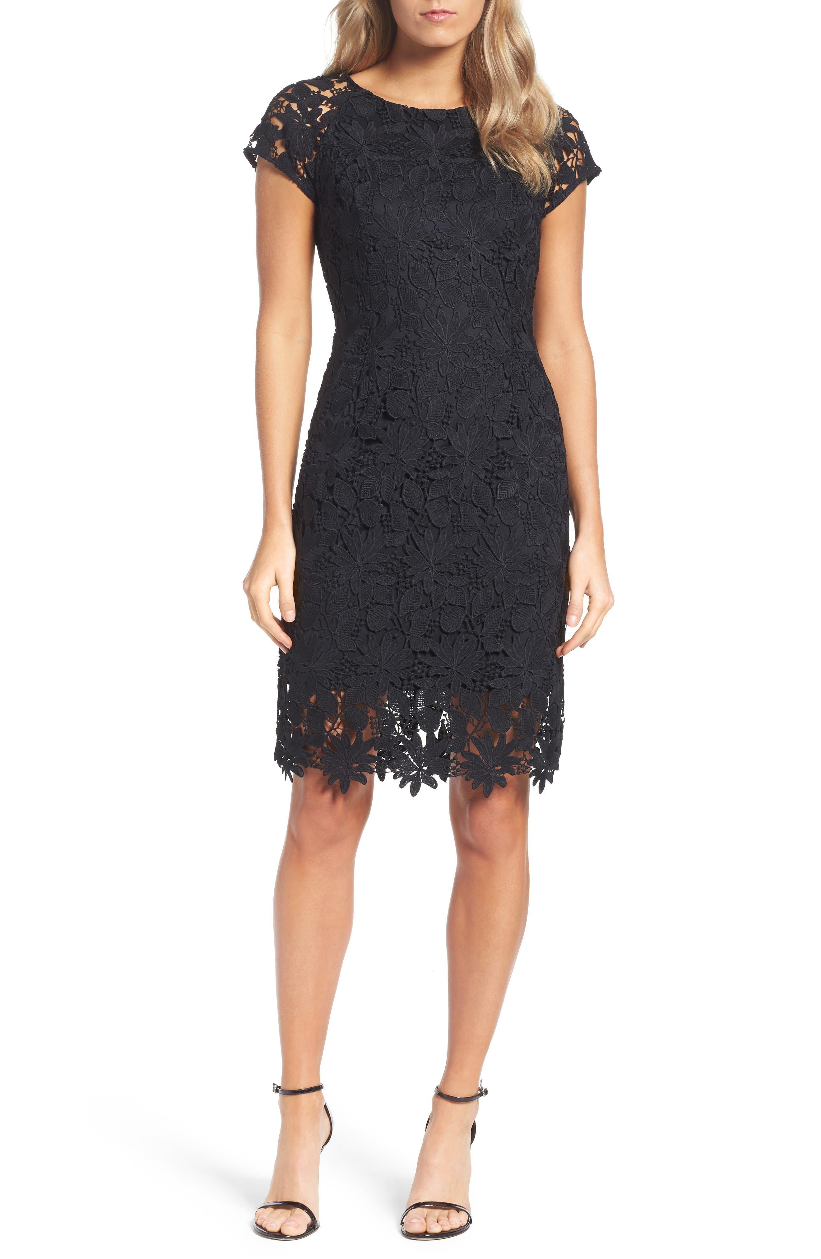 Lace Dress,                             Alternate thumbnail 4, color,                             Black