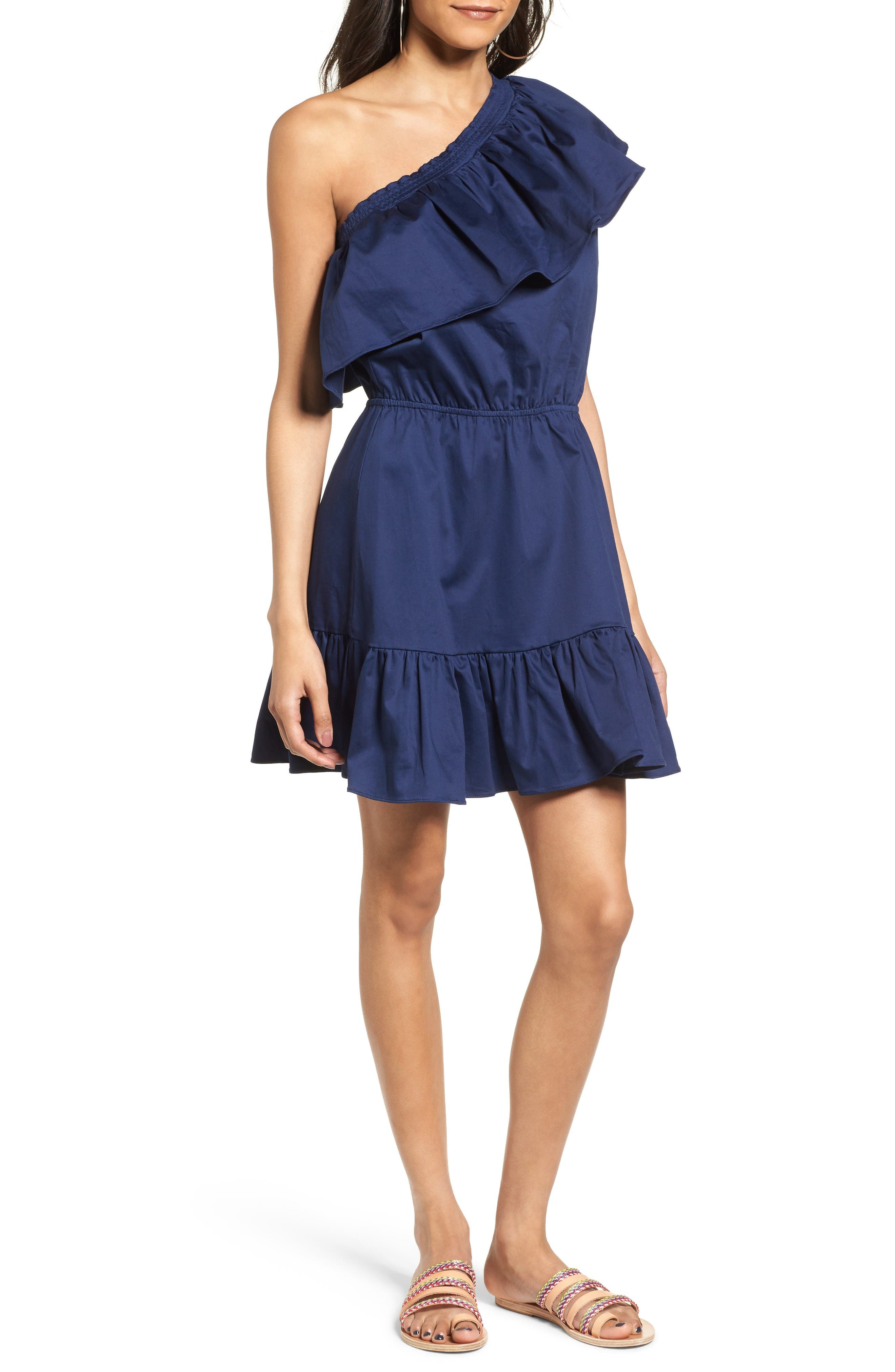 Alternate Image 1 Selected - devlin Thea One-Shoulder Fit & Flare Dress