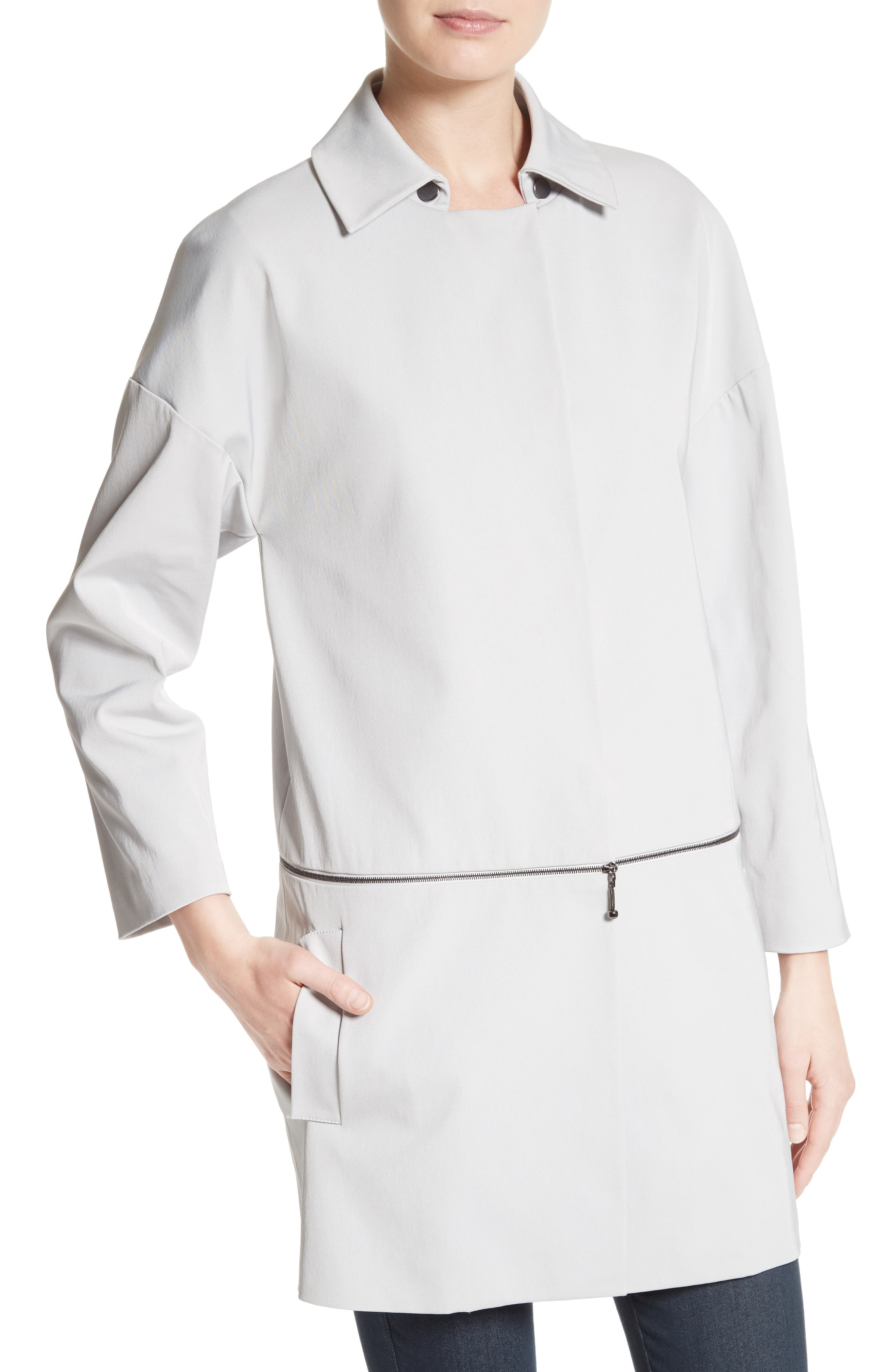 Alternate Image 5  - St. John Collection Stretch Twill Convertible Coat