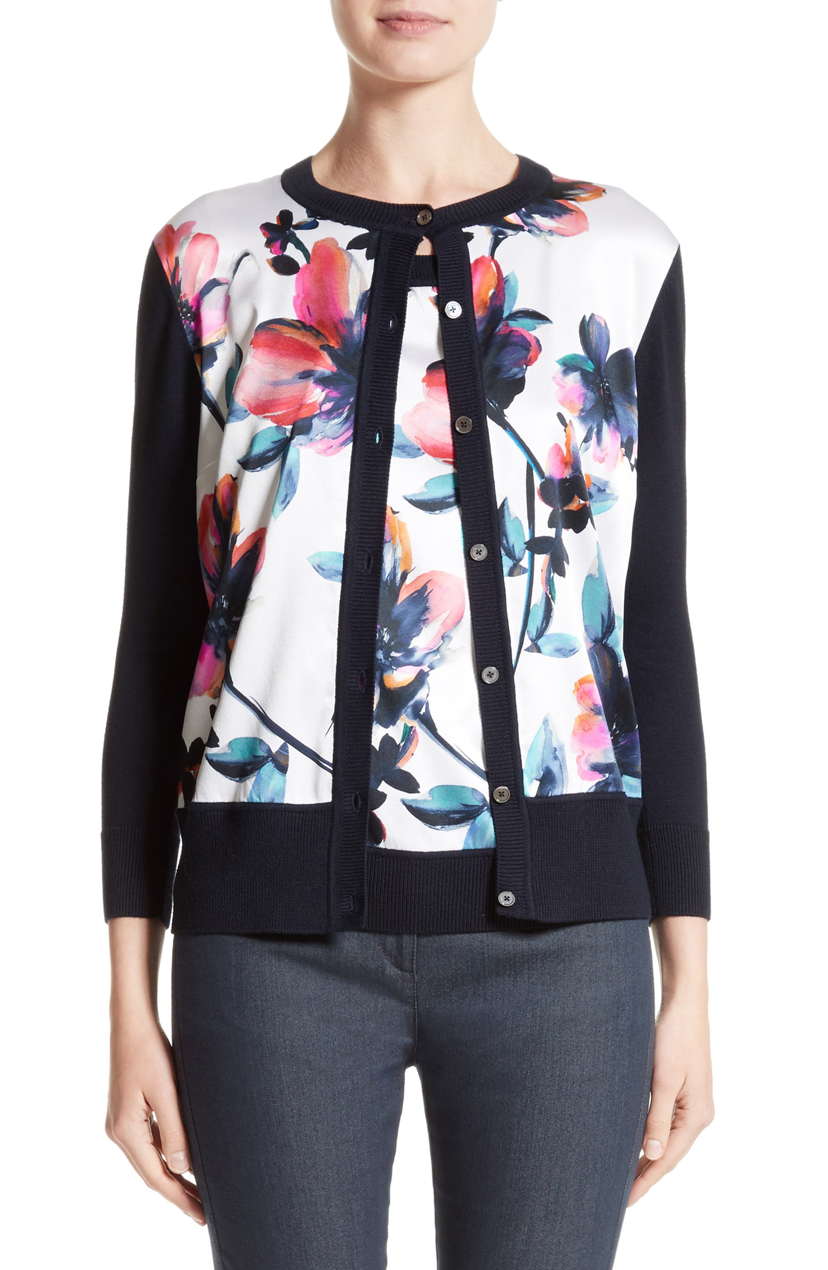 St. John Collection Floral Print Cardigan
